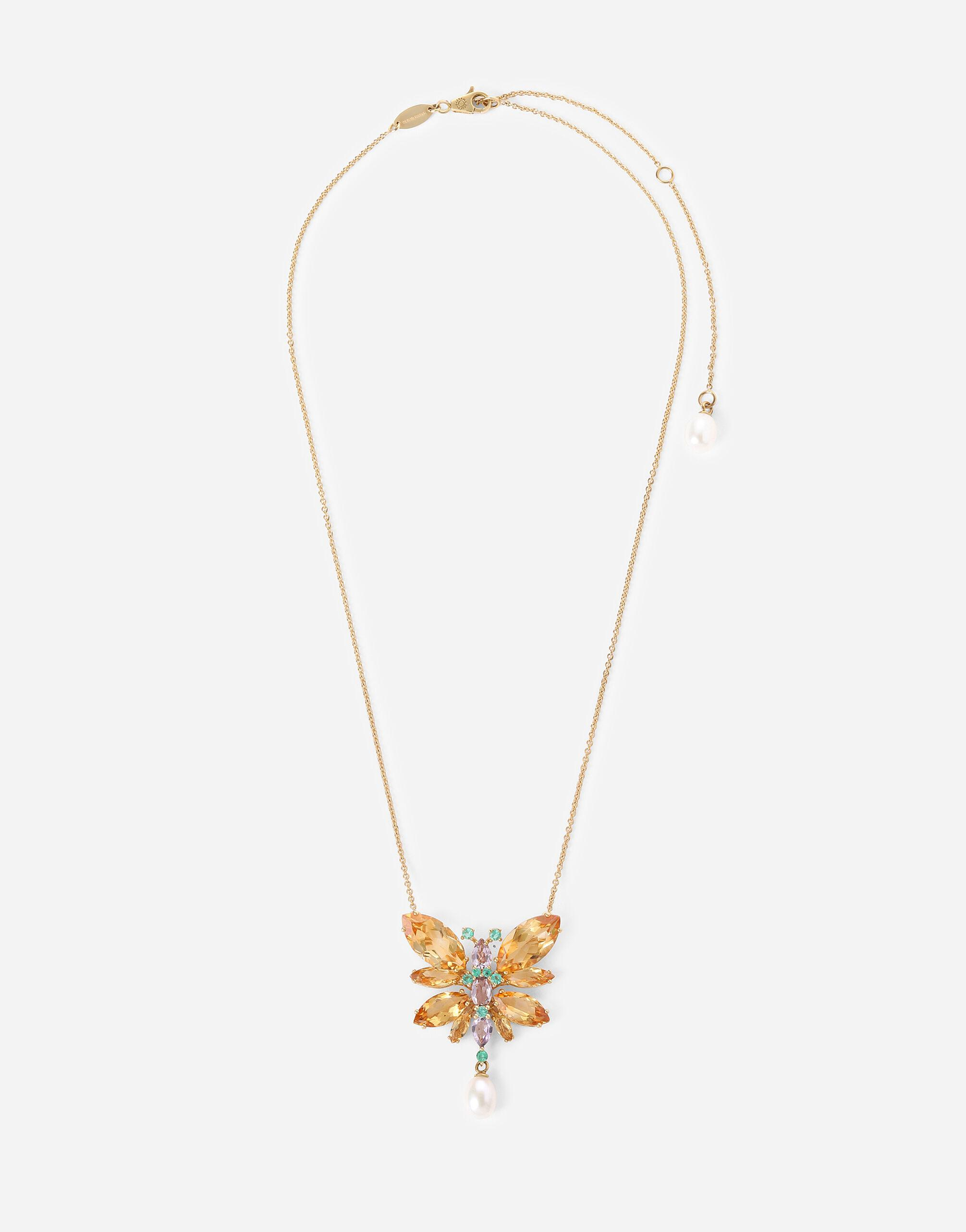 Sring necklace in yellow 18kt gold with citrine butterfly