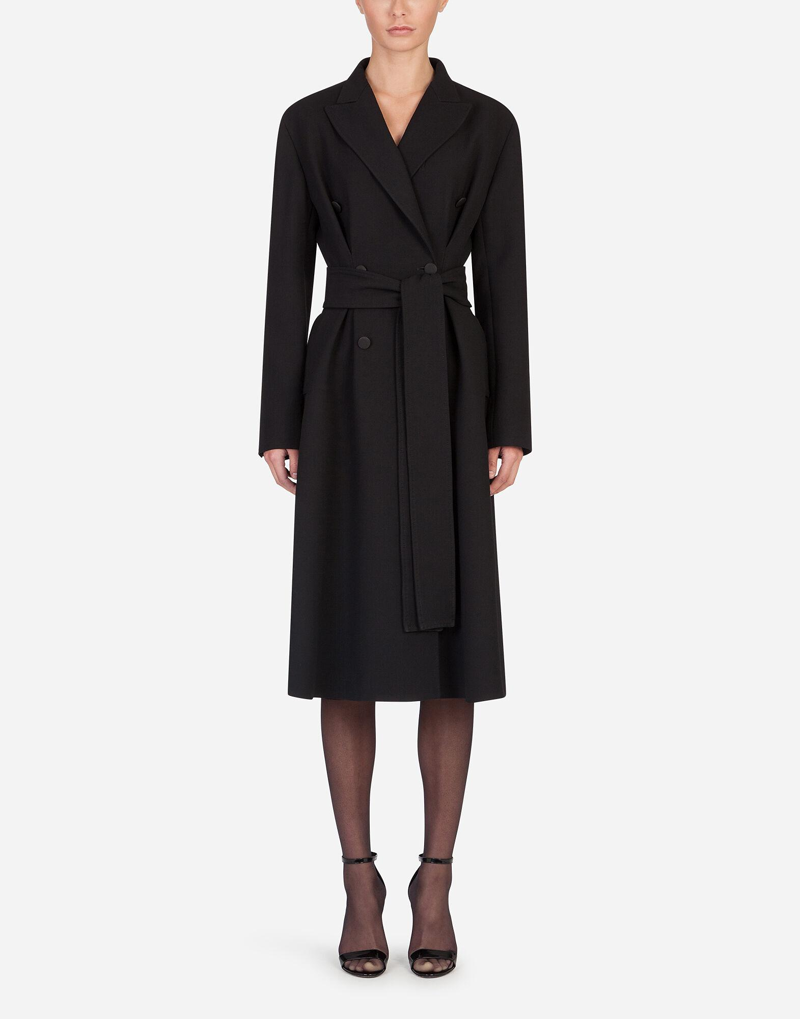 Belted double-breasted crepe coat