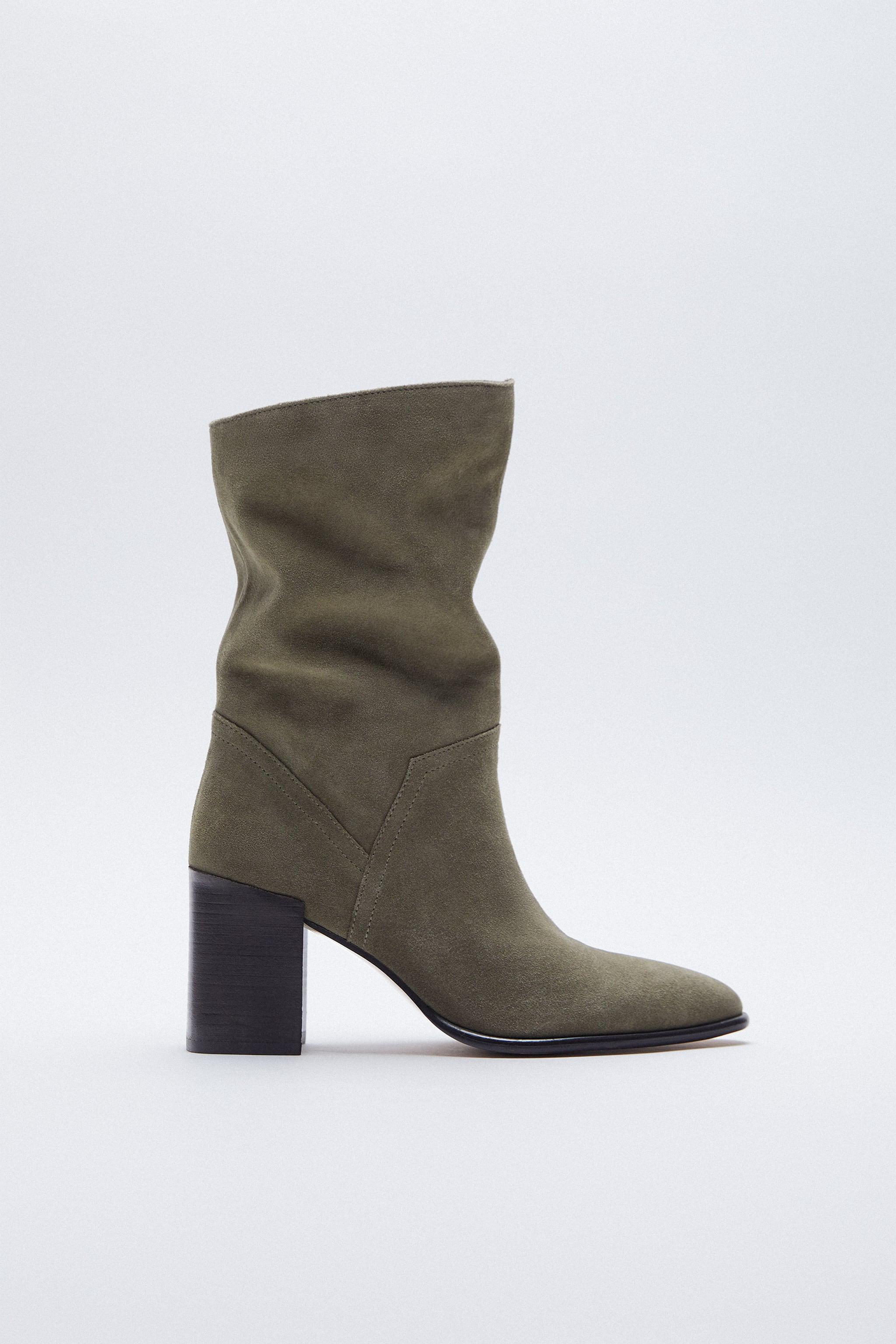 SPLIT LEATHER HEELED ANKLE BOOTS