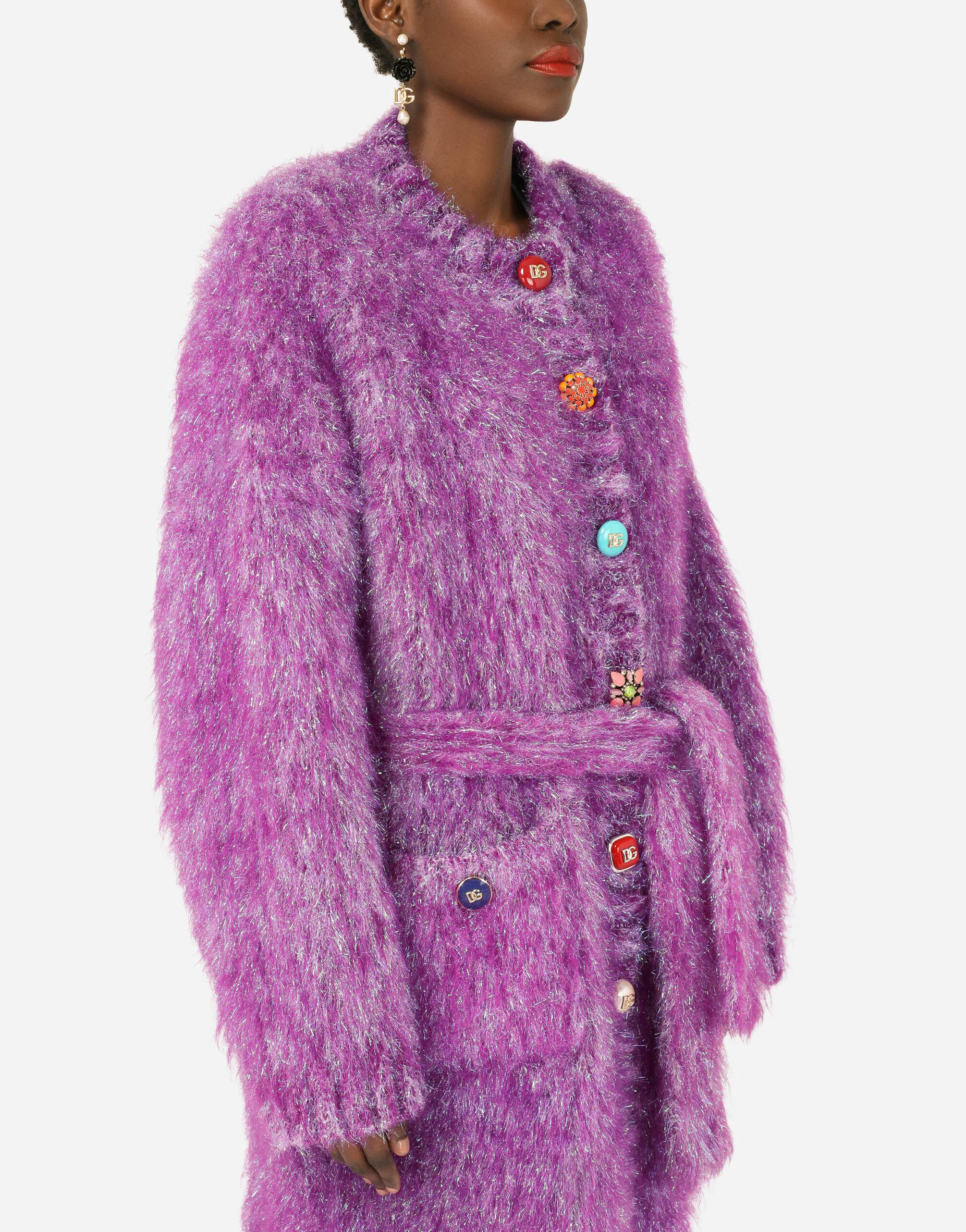 Knit coat with bejeweled buttons 2