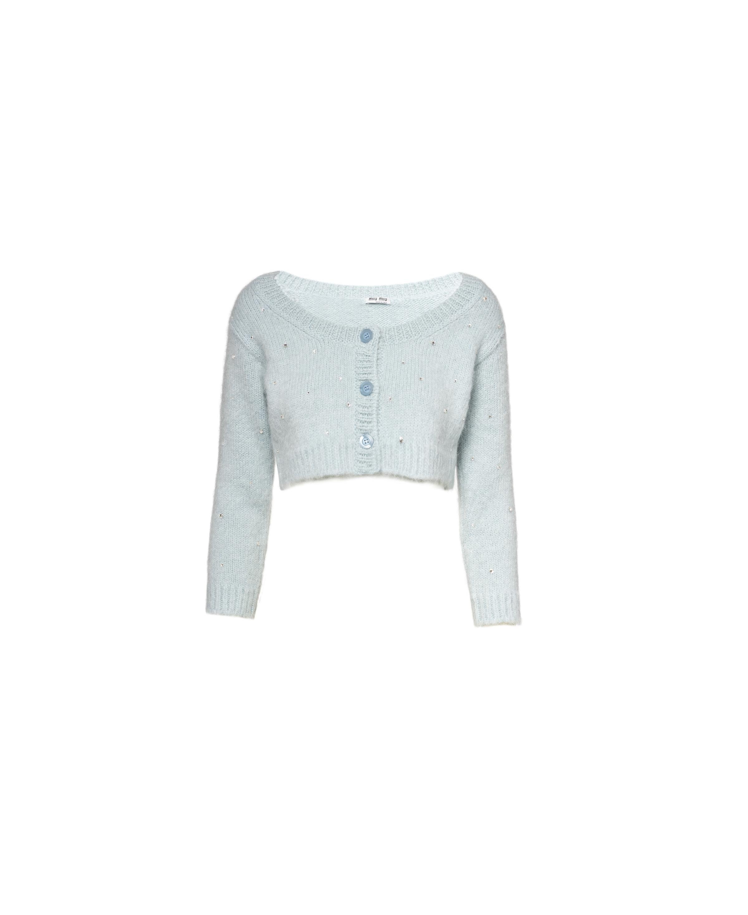 Embroidered Mohair Cardigan Women Navy