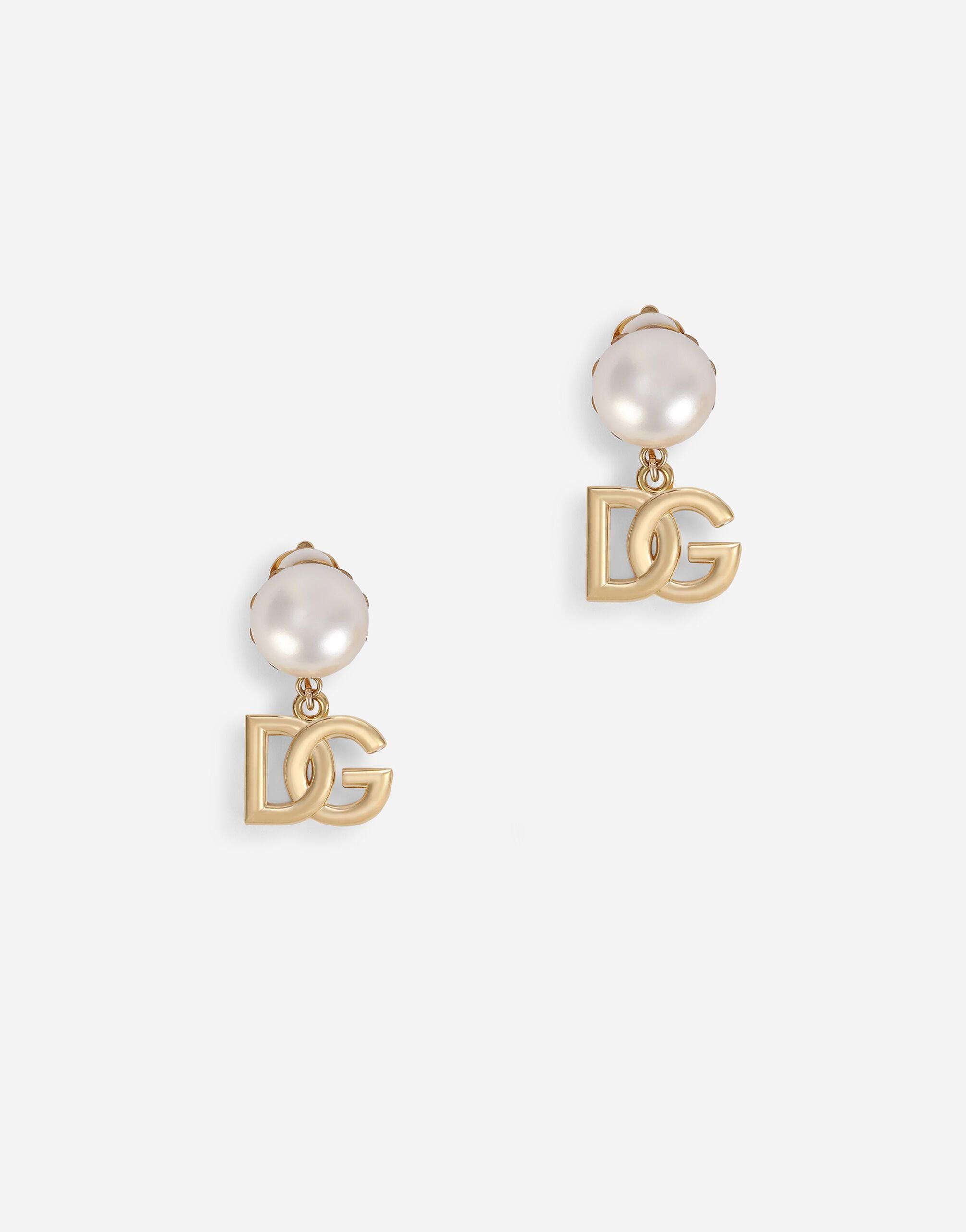 Clip-on earrings with pearls and DG logo pendants