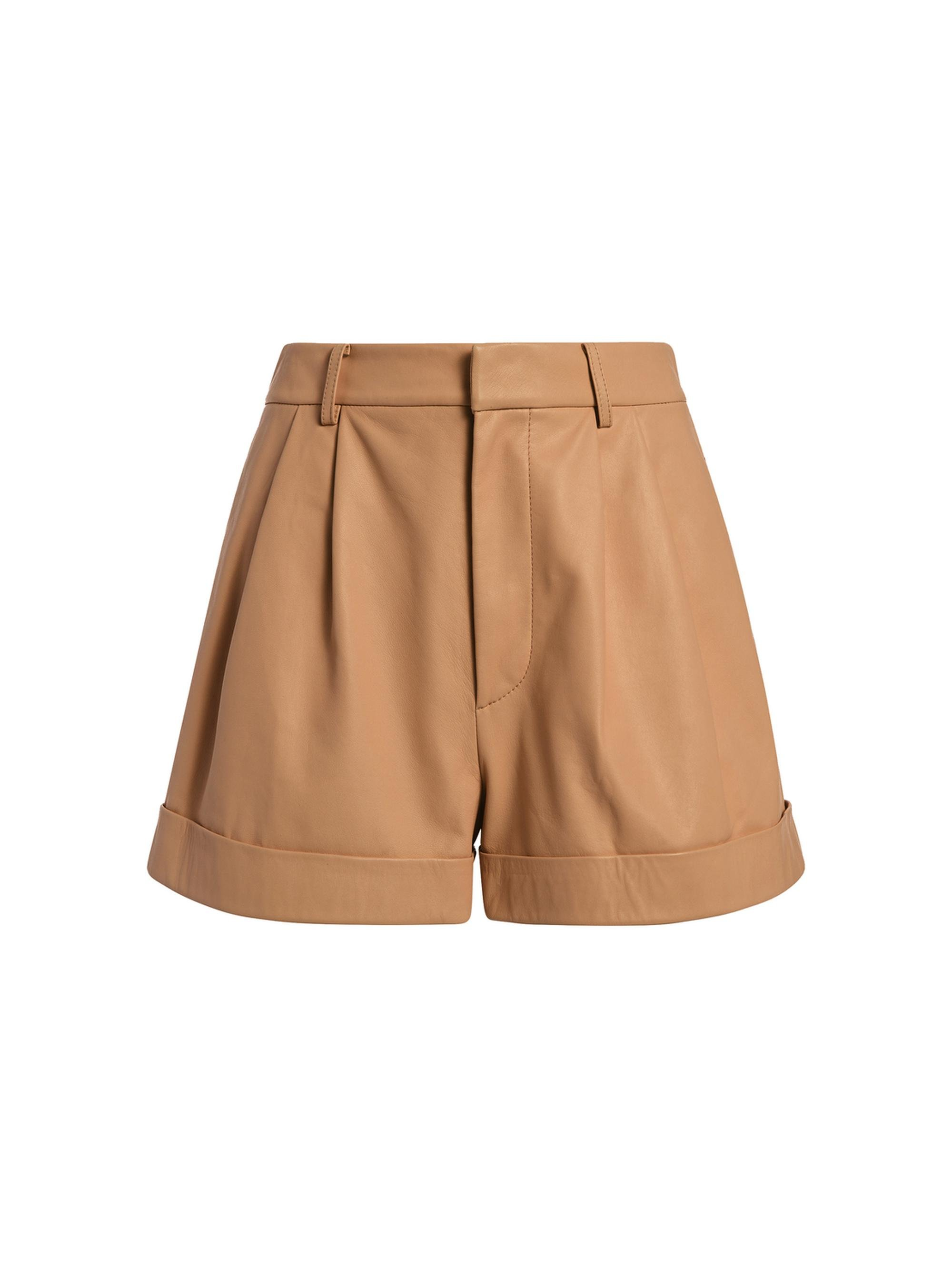 CONRY LEATHER PLEATED SHORTS 5
