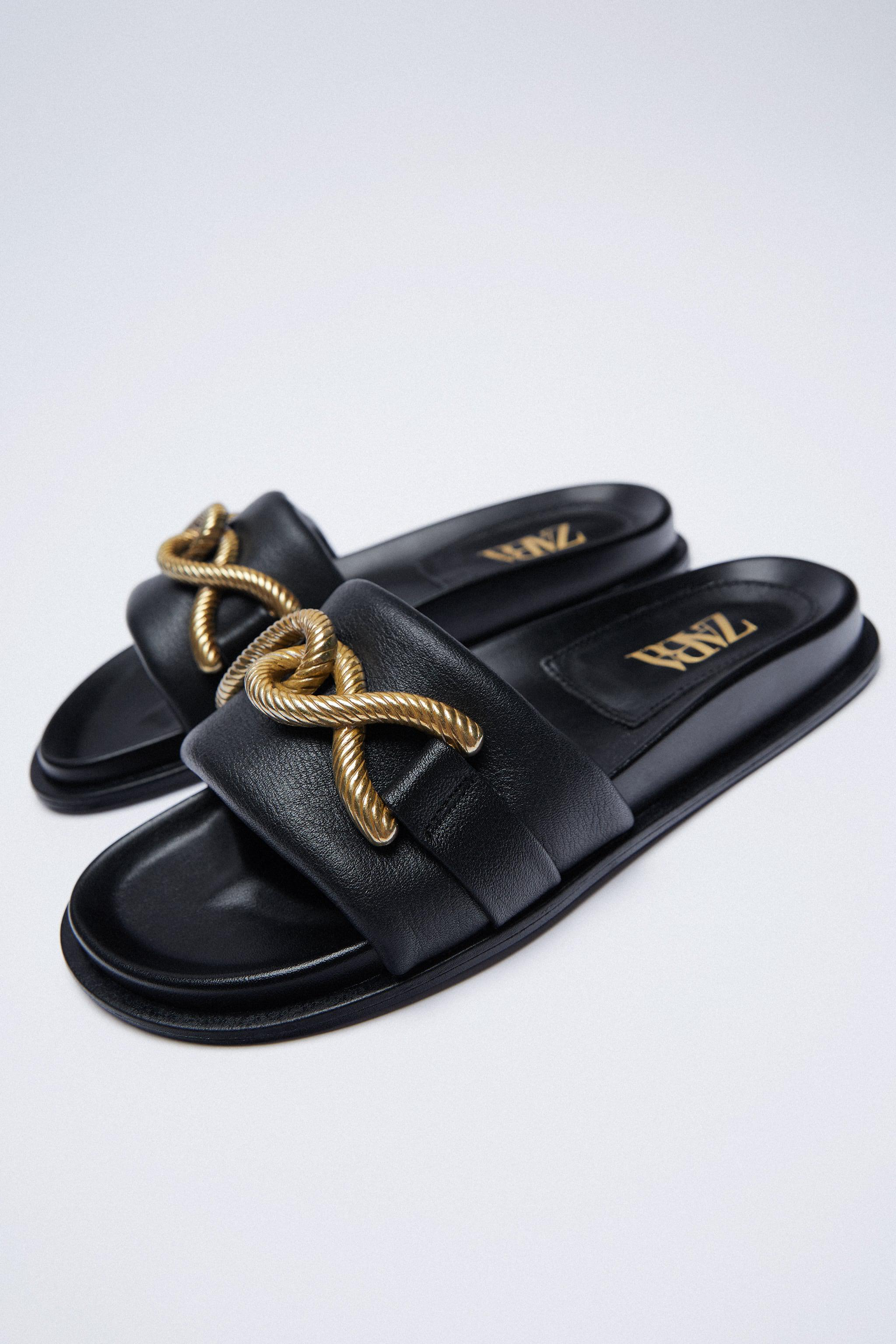 METAL BUCKLE FLAT LEATHER SANDALS 2