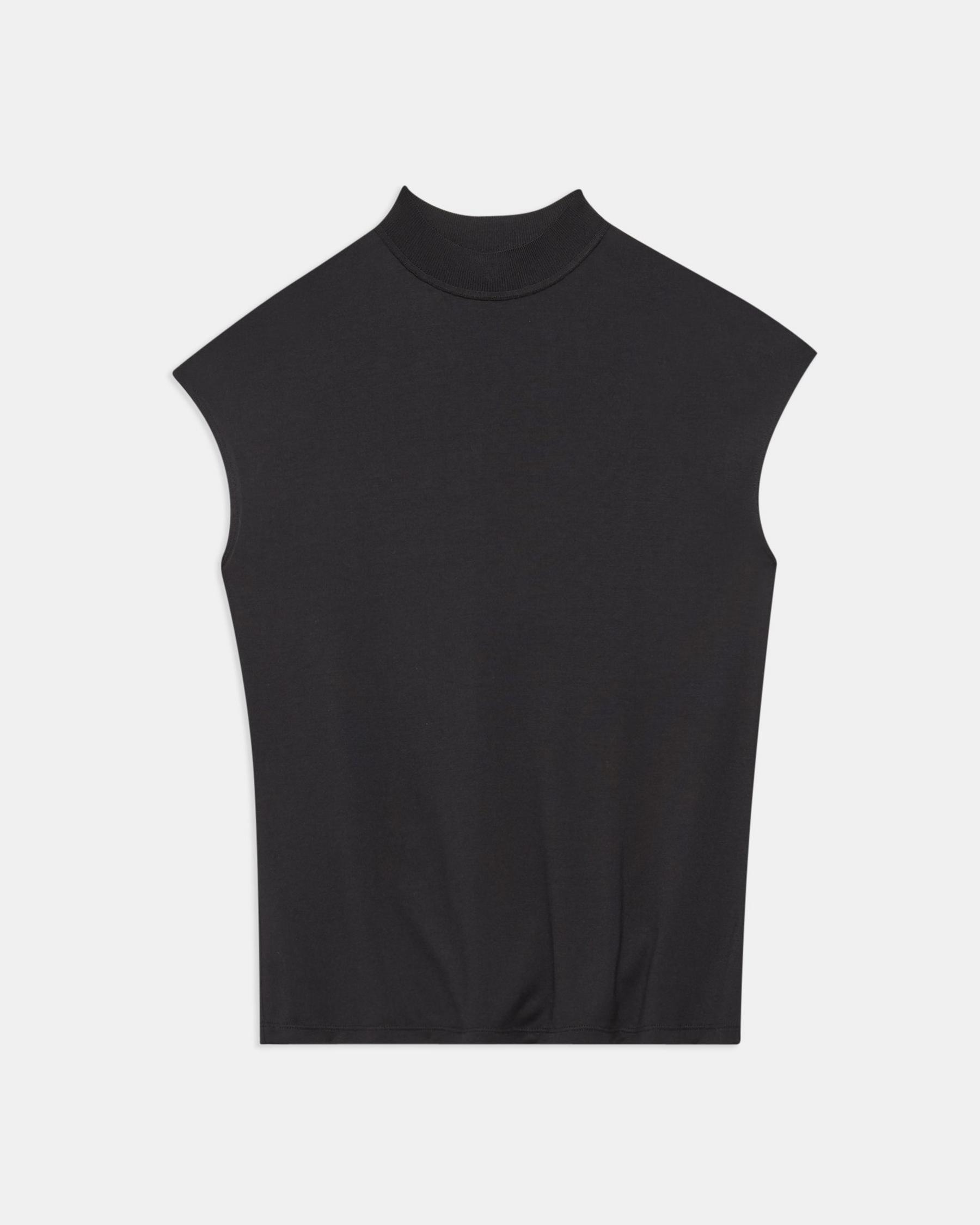 Ribbed Neck Top in Silk Jersey 4