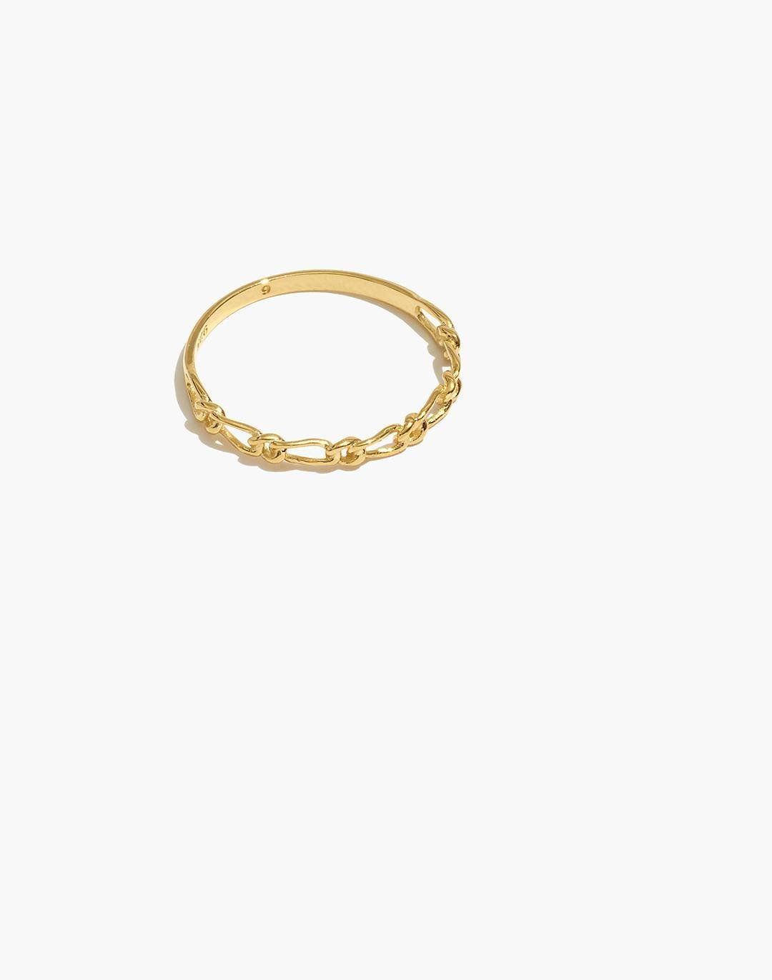 Delicate Collection Demi-Fine 14k Plated Bonded Pair Chain Ring