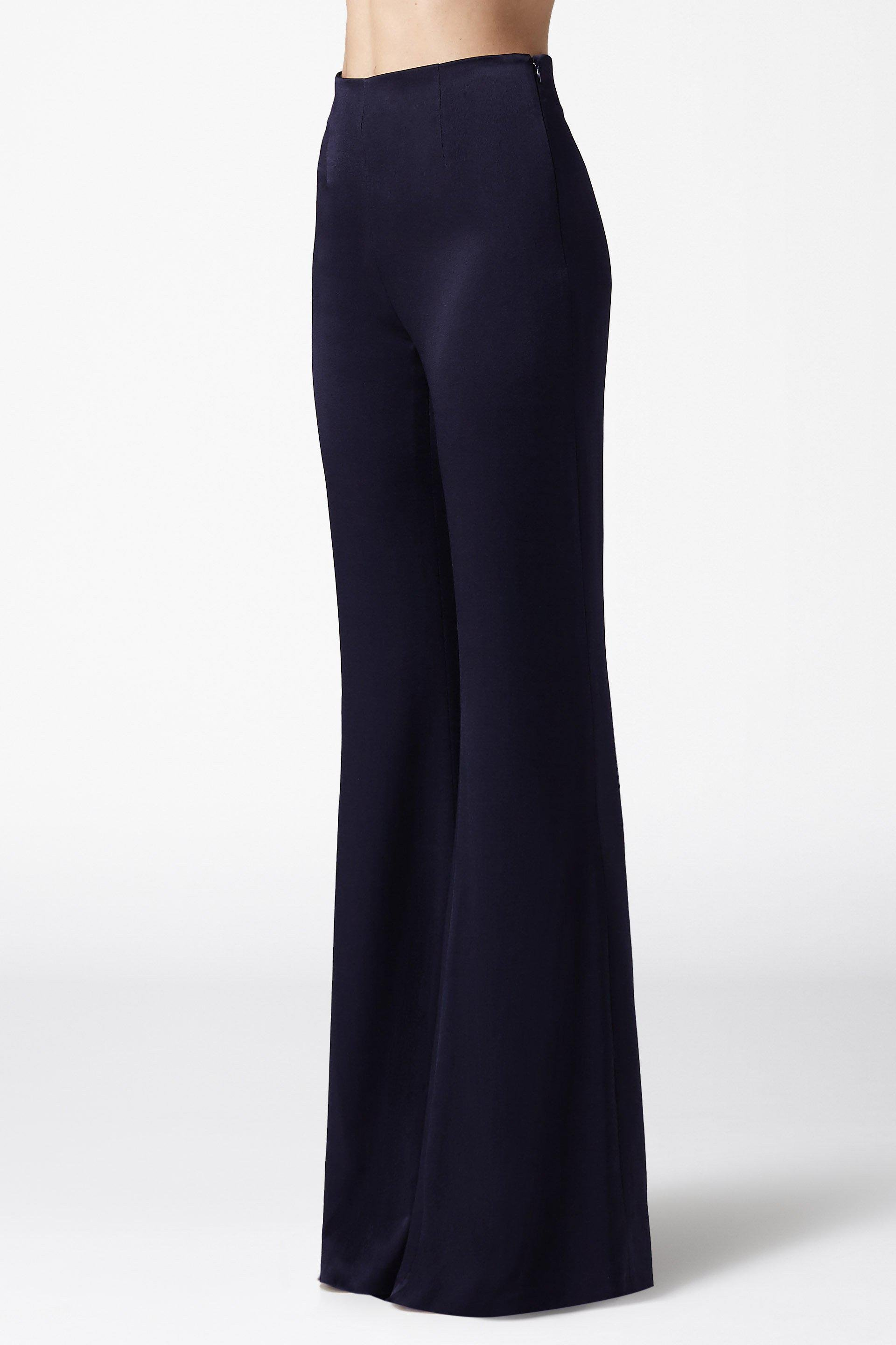 High Waisted Satin Trousers - Midnight 1