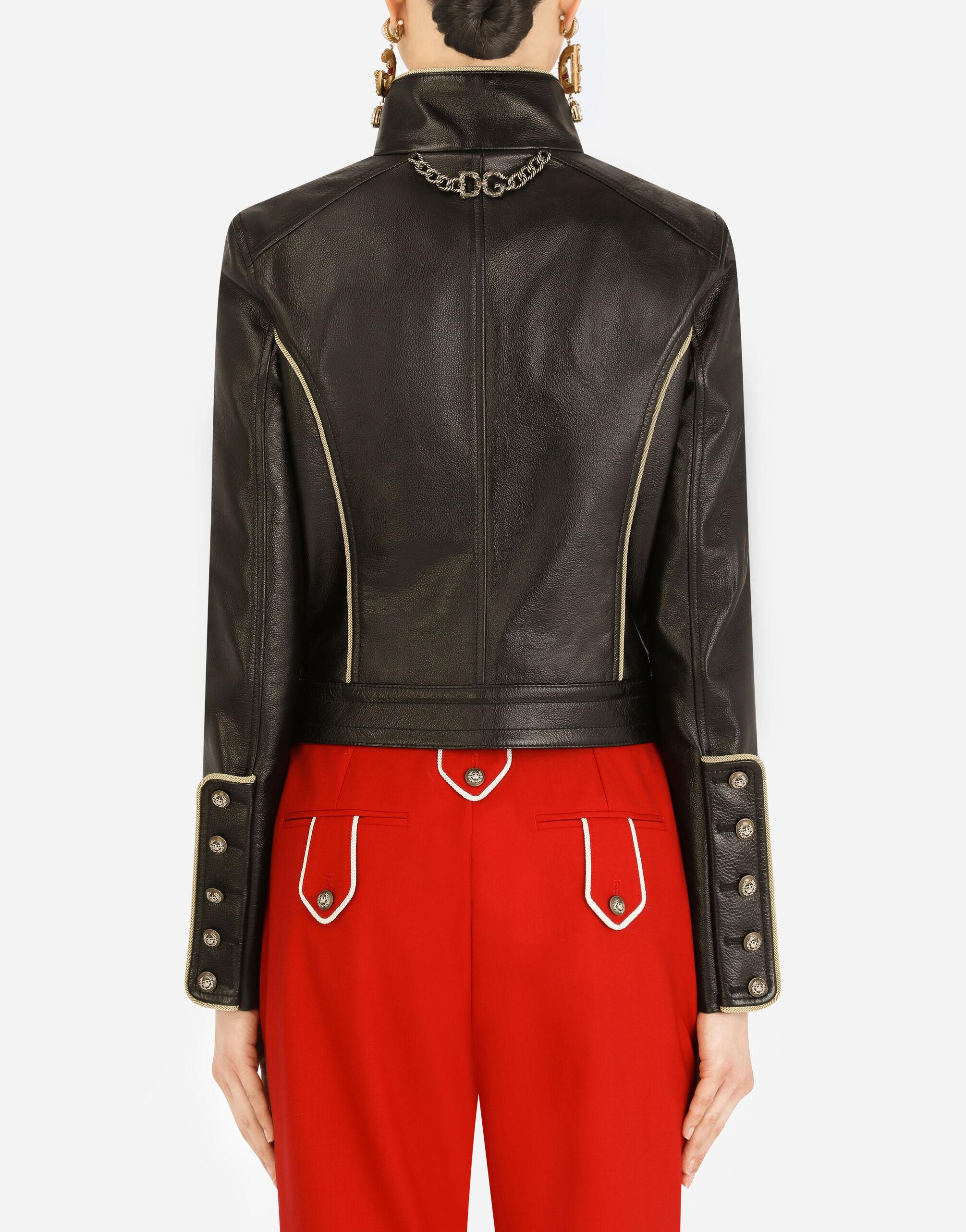 Leather biker jacket with heraldic buttons 1