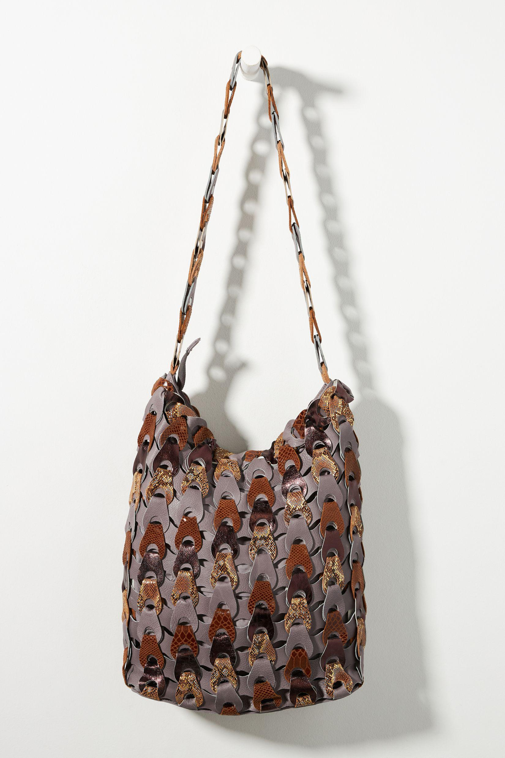 Woven Leather Slouchy Shoulder Bag 1