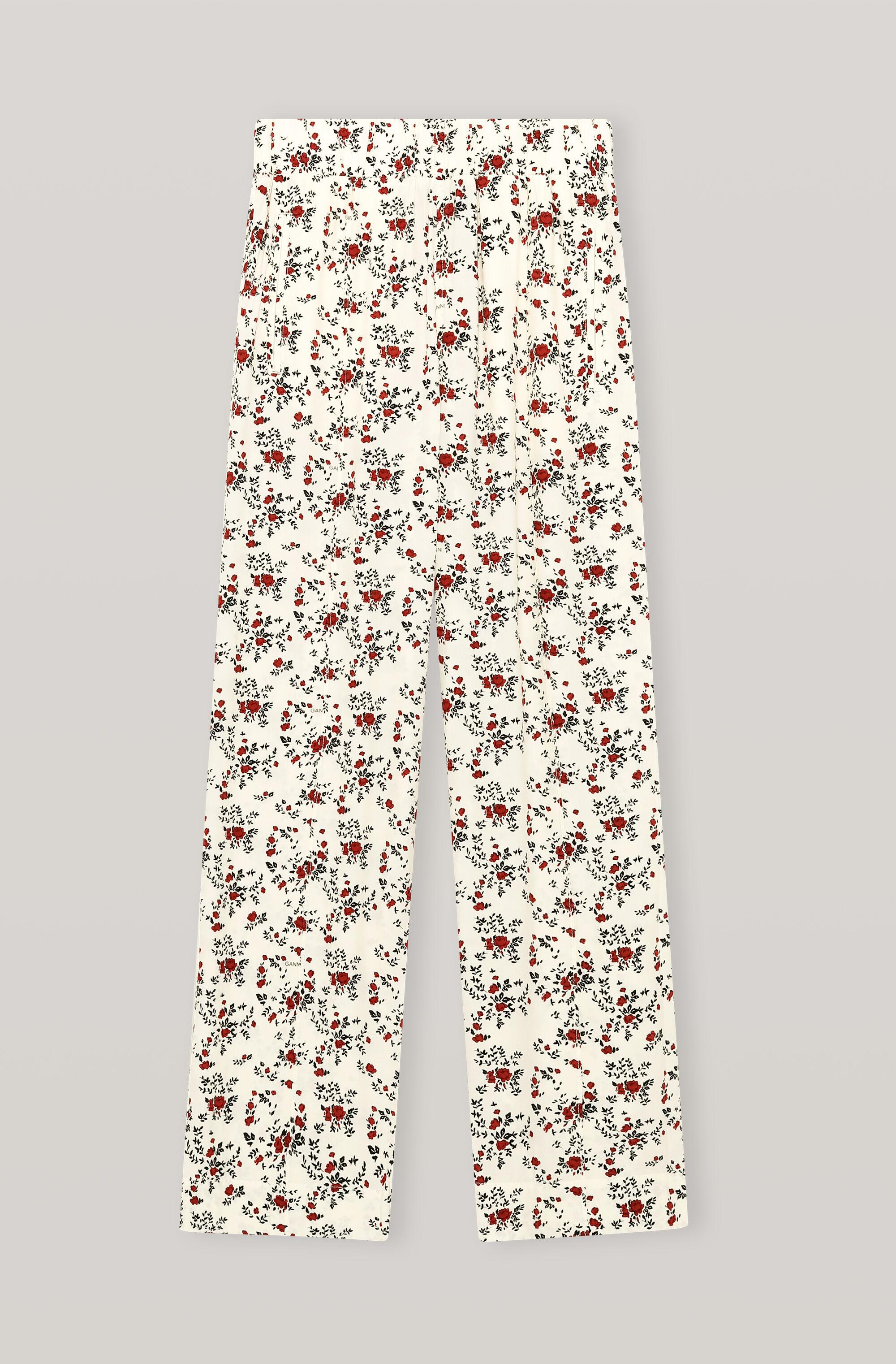 Printed Crepe Straight Trousers