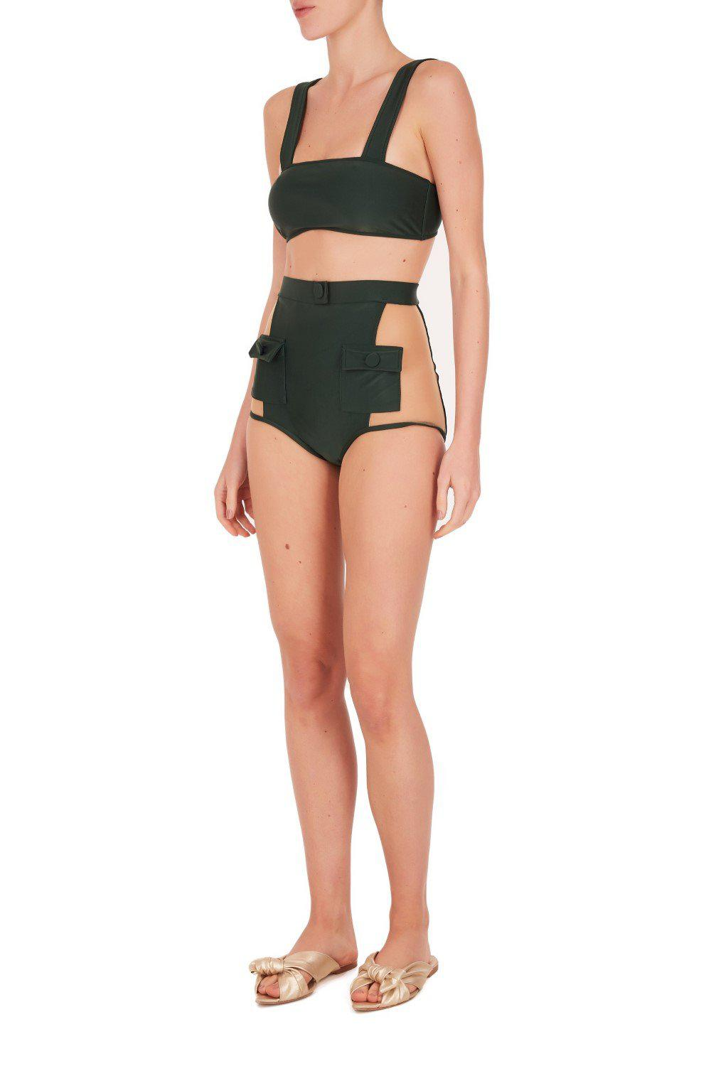 Solid Hot Pants Bikini With Buttons