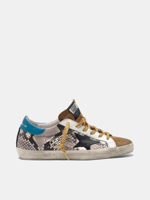 Super-Star sneakers in snakeskin print leather and suede