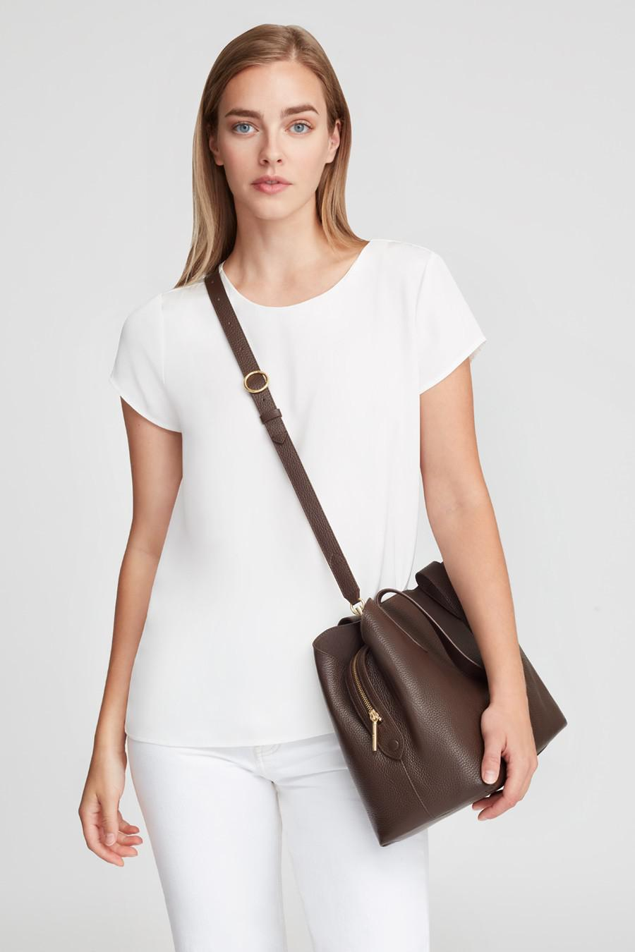Women's Zippered Satchel Bag in Chocolate | Pebbled Leather by Cuyana 6