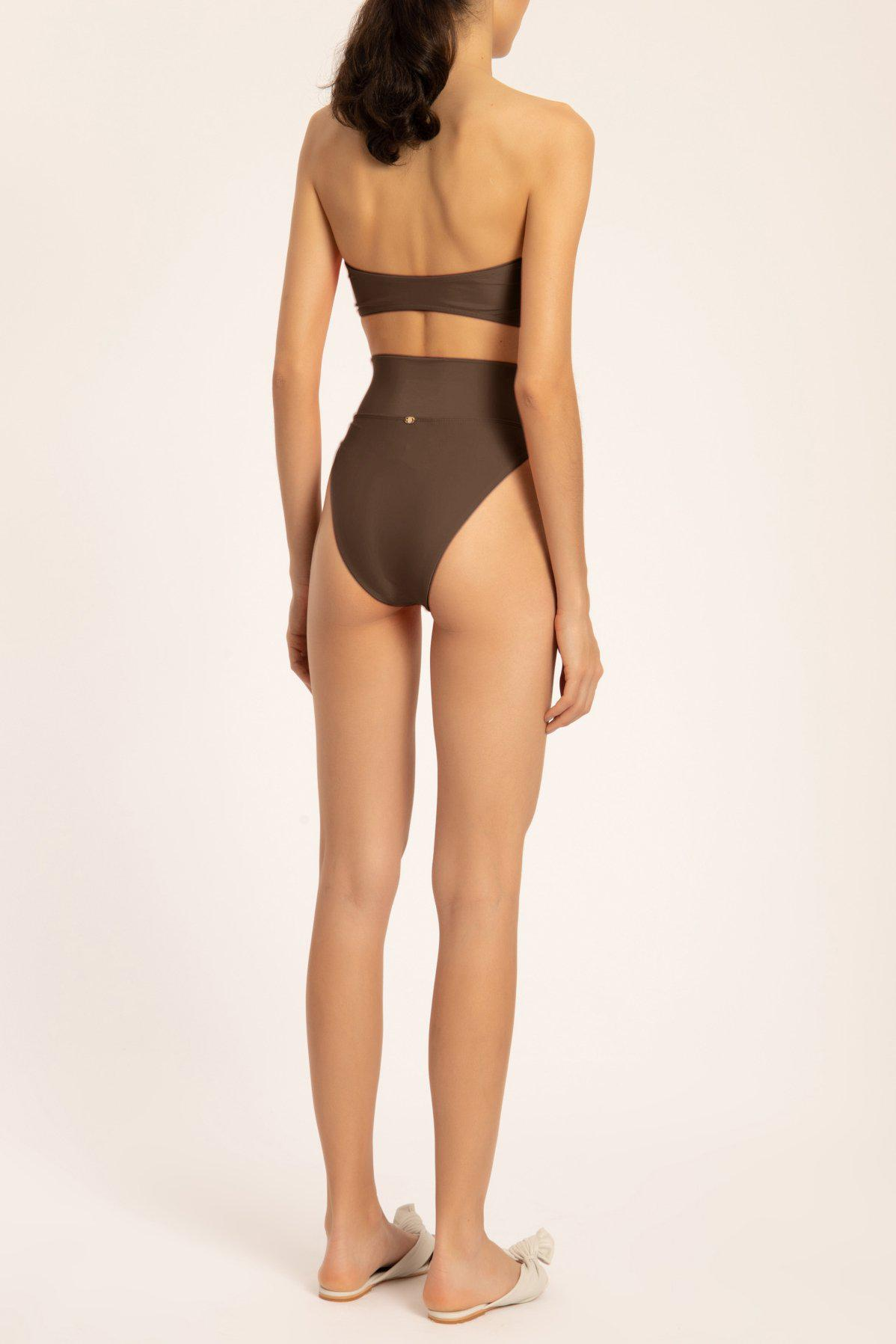 Solid High-leg Strapless Bikini With Knot 2
