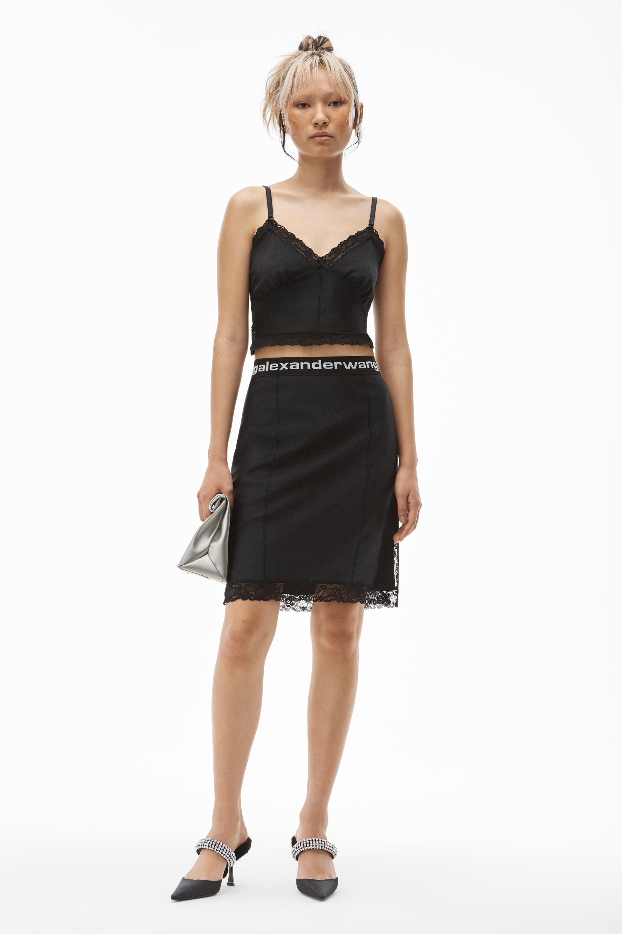 lace slip skirt in active stretch lycra