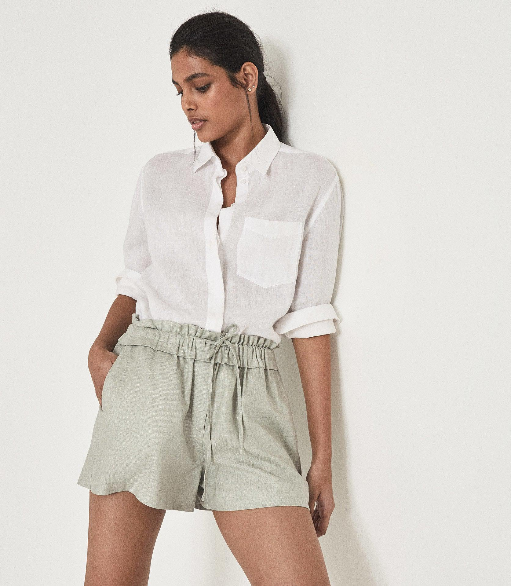 LACEY - LINEN BLEND DRAWCORD SHORTS 3