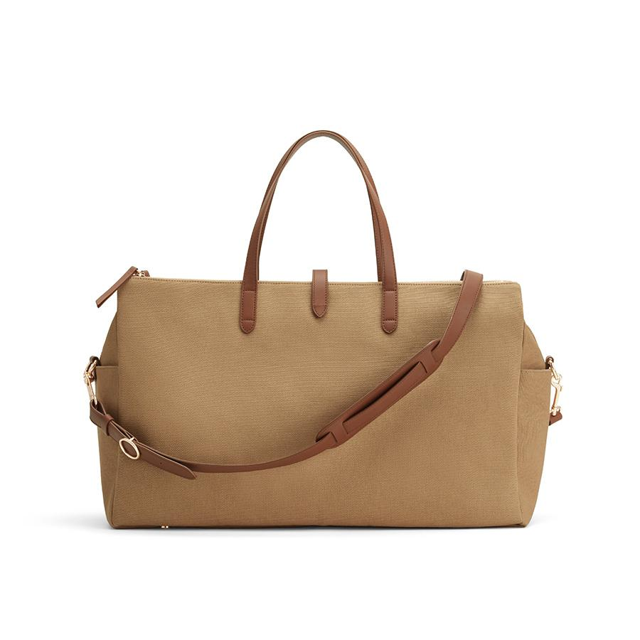 Women's Triple Zipper Weekender Bag in Sand/Chestnut | Organic Canvas/Smooth Leather by Cuyana