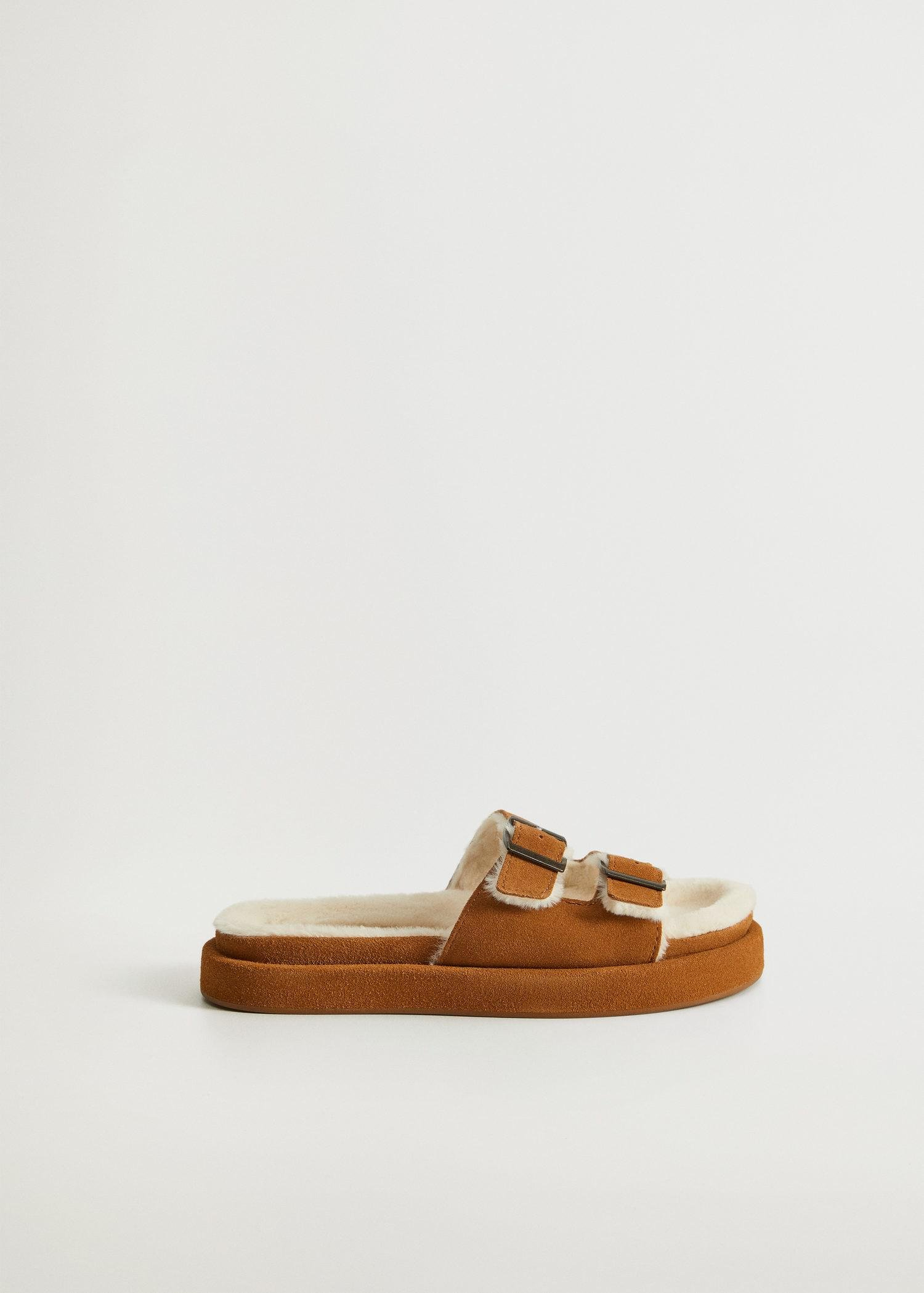 Faux-fur sandals with buckle
