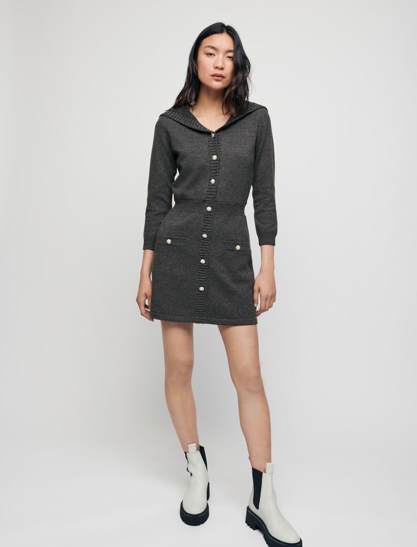 WOOL AND COTTON DRESS WITH SAILOR COLLAR