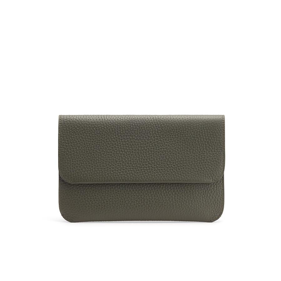 Women's System Flap Bag in Dark Olive   Pebbled Leather by Cuyana