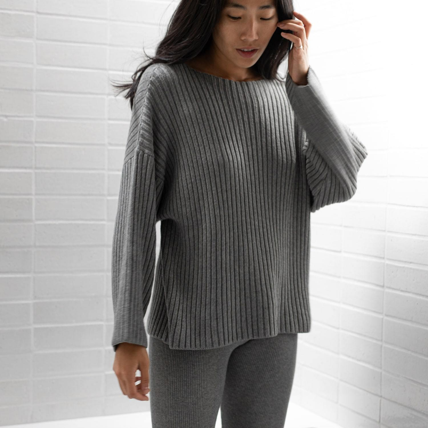 Cozy Pima Wool Ribbed Pullover