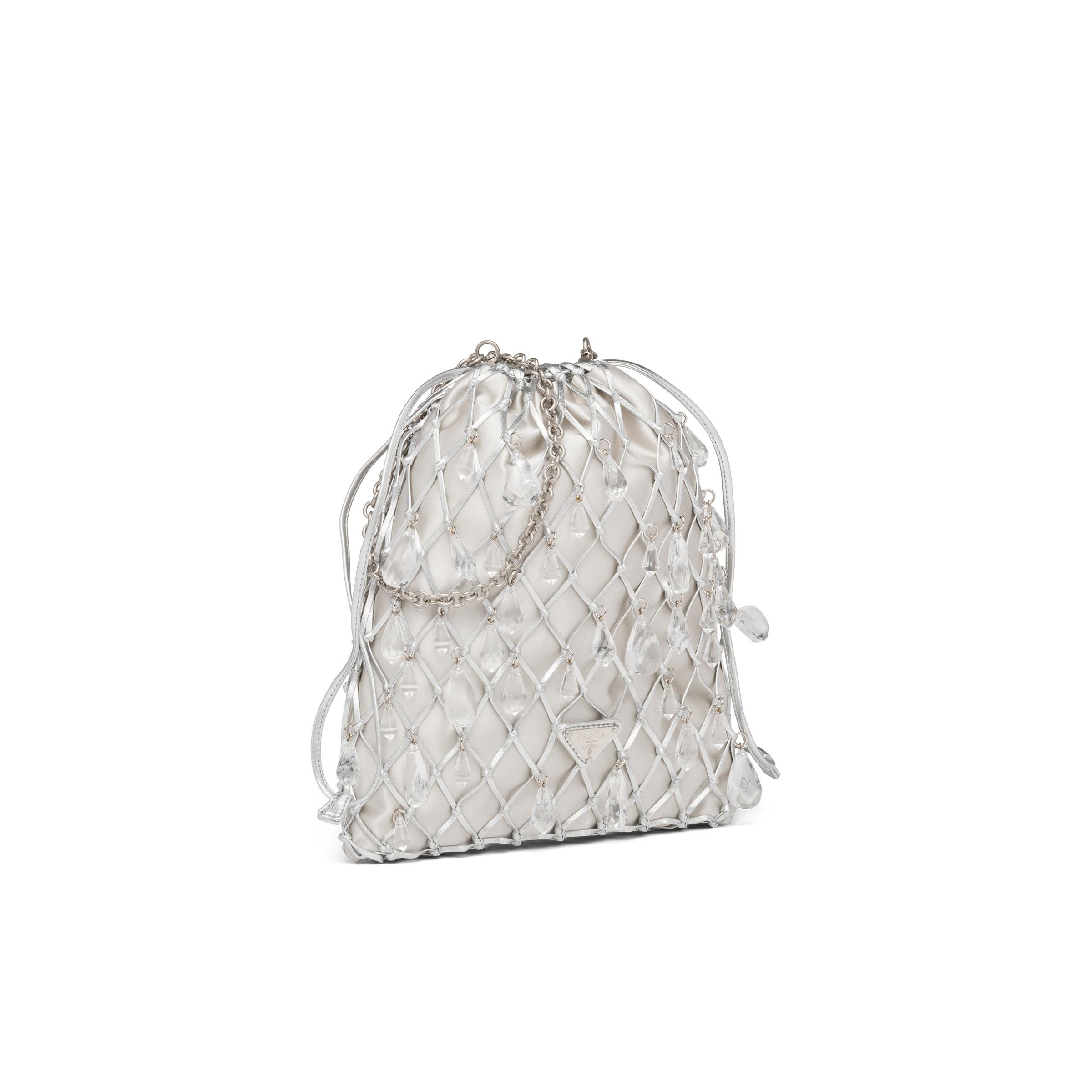 Leather Mesh And Satin Clutch Women Silver 2