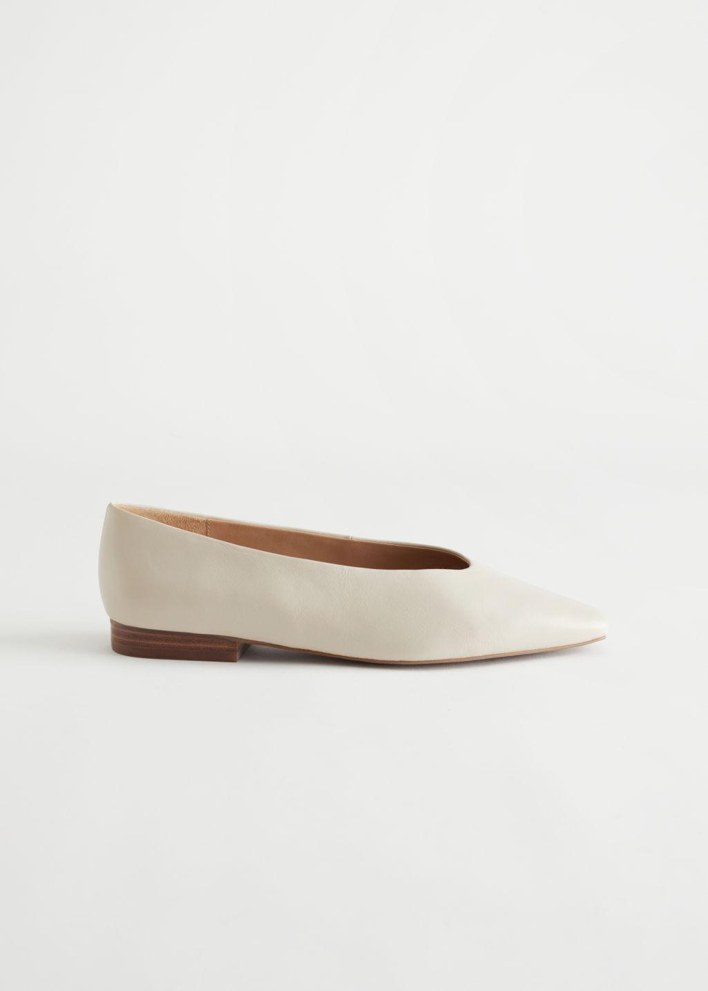 Pointed Leather Ballerina Flats
