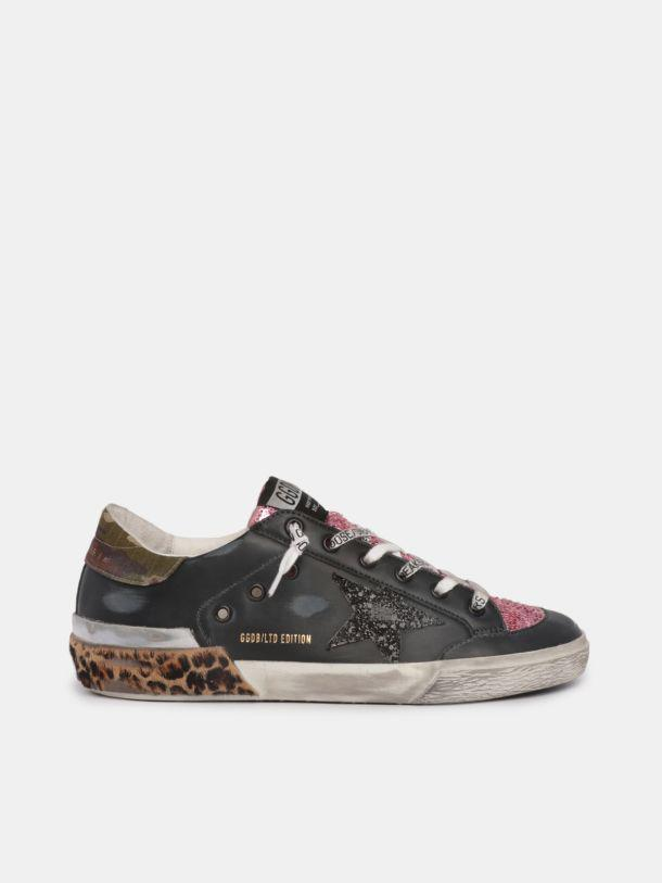 LTD Super-Star sneakers with colored glitter and leopard-print multi-foxing