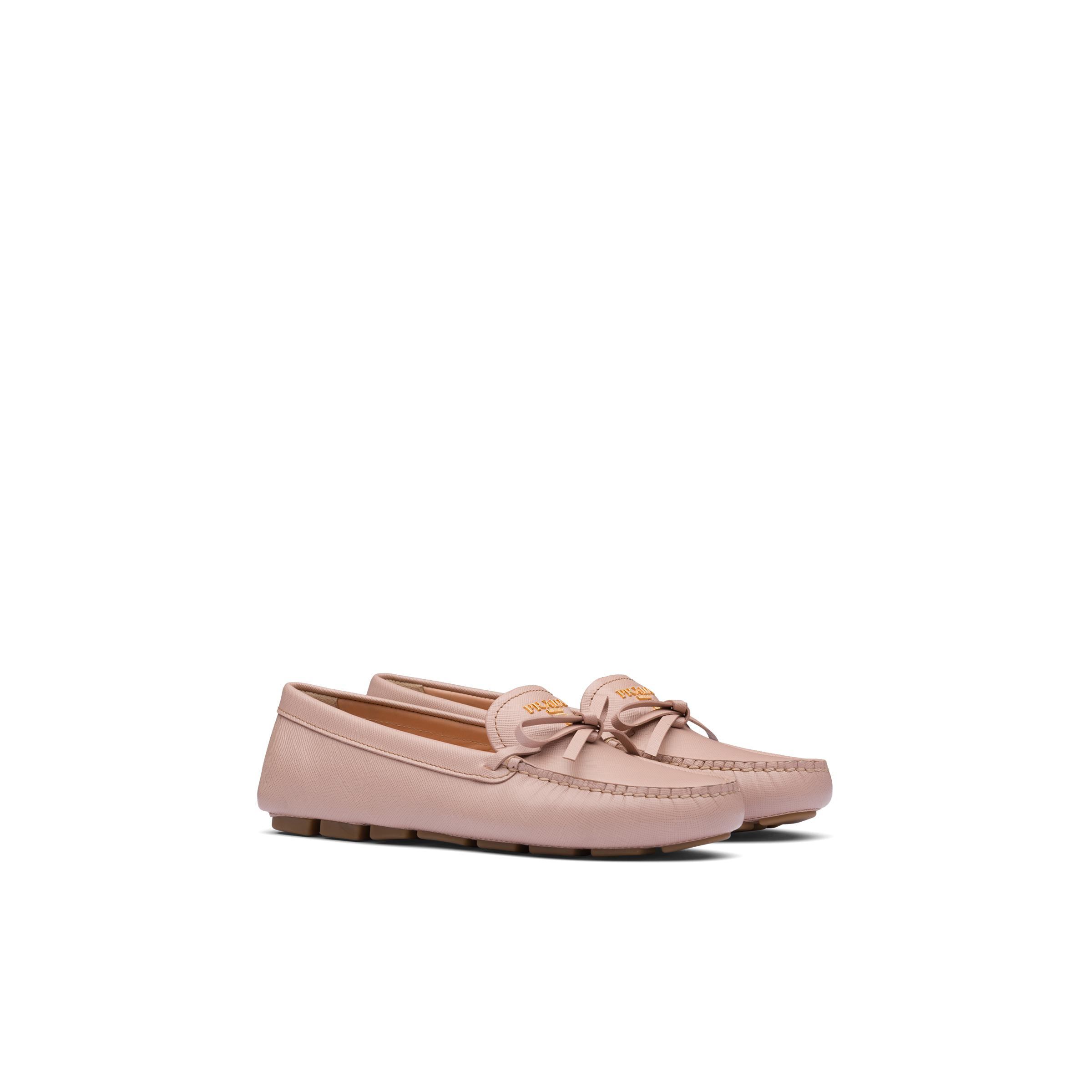 Saffiano Leather Loafers Women Powder Pink