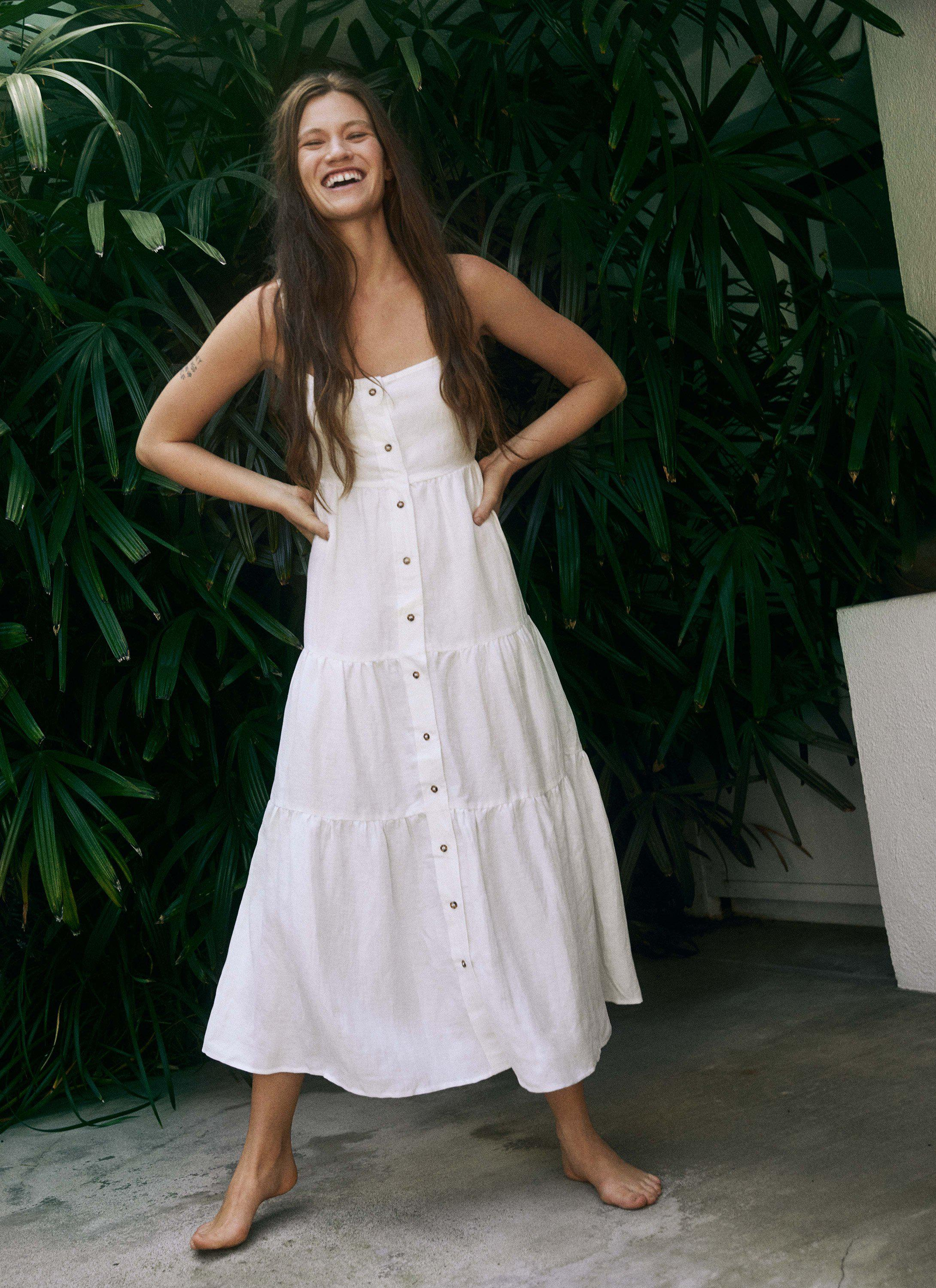 The Flounce Tiered Button-Down Midi Dress in Linen Cupro 1