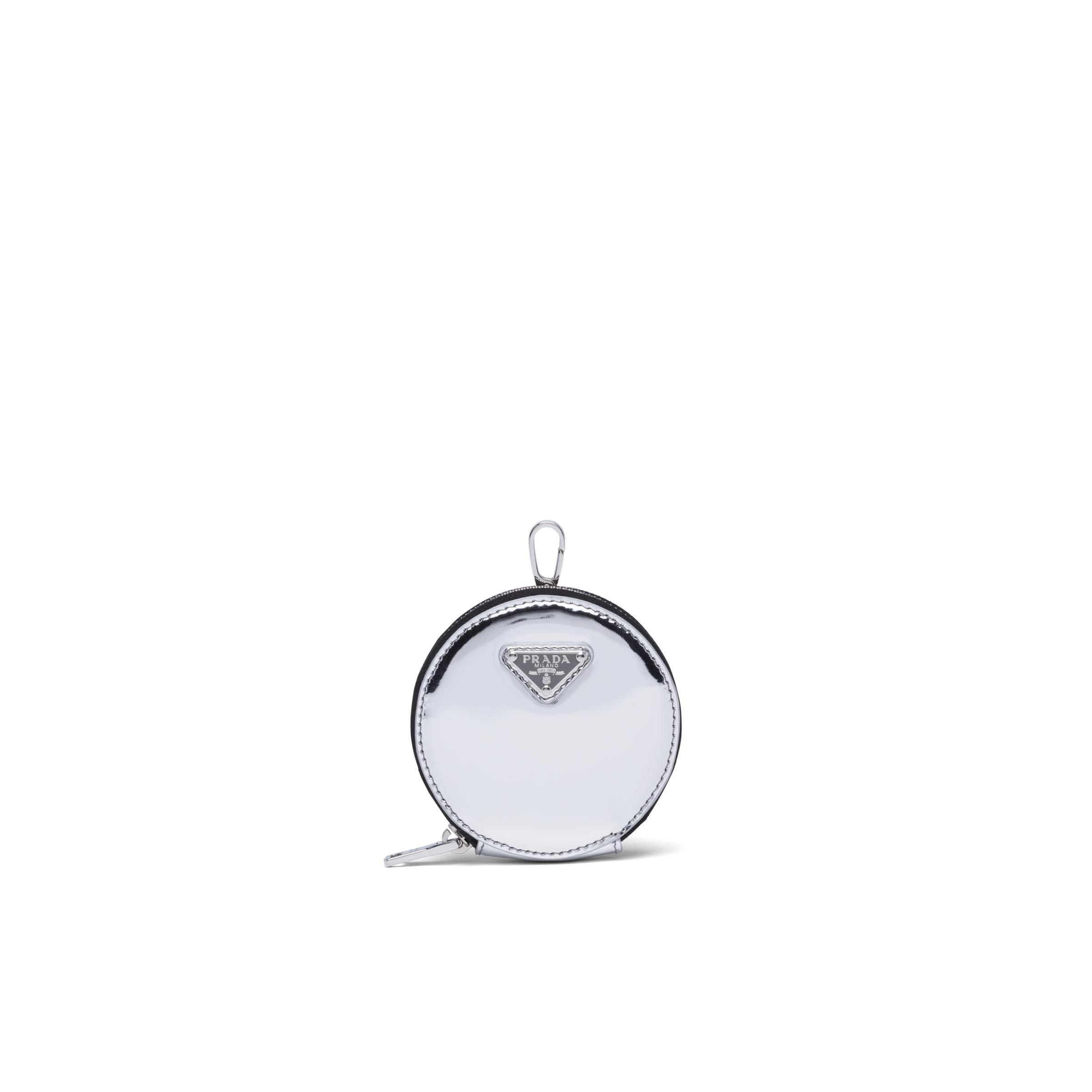 Brushed Leather Round Mini-pouch Women Silver