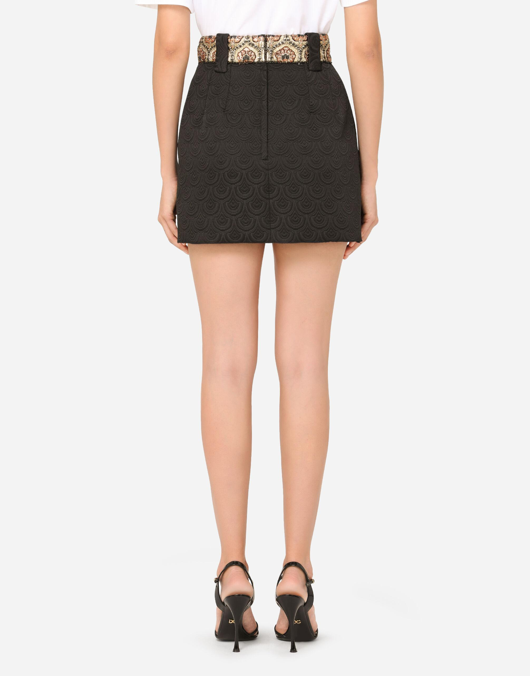 Short jacquard skirt with bejeweled buttons 1
