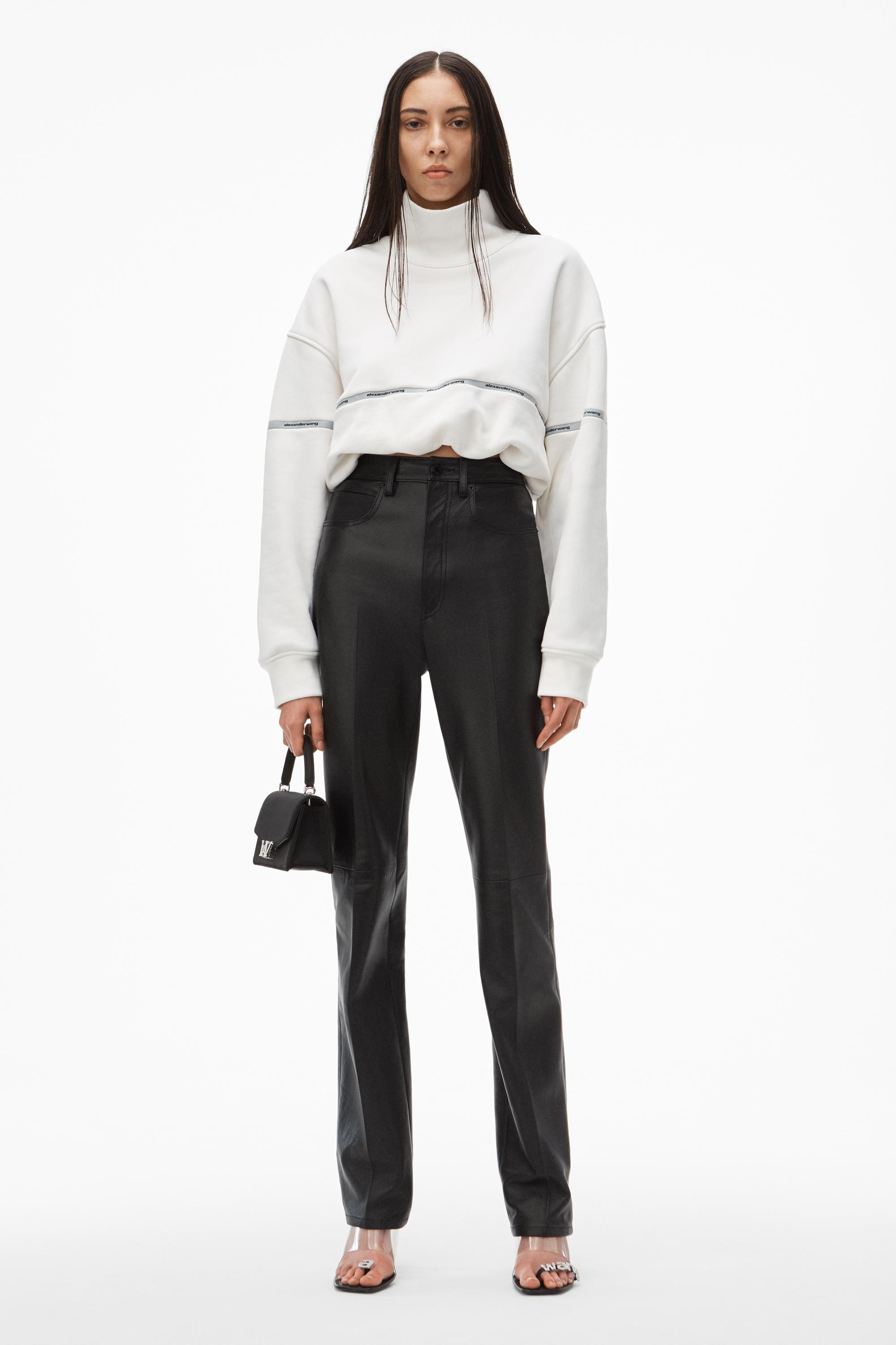 dipped back leather pant