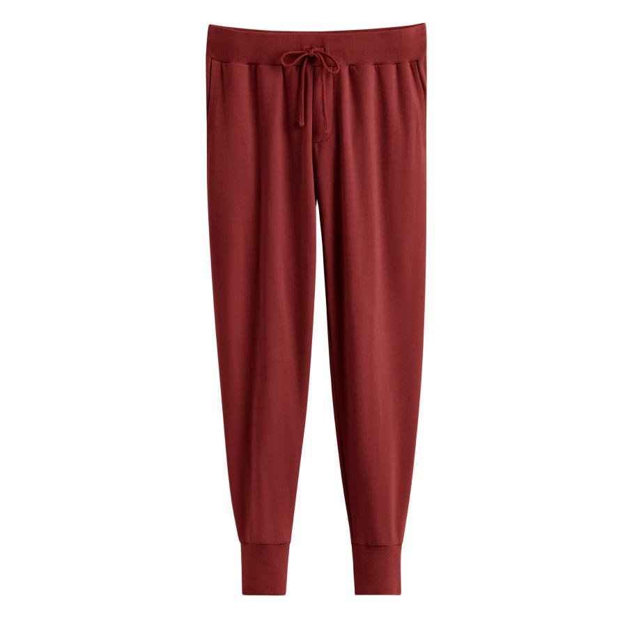 Women's French Terry Tapered Lounge Pant in Brick   Size: