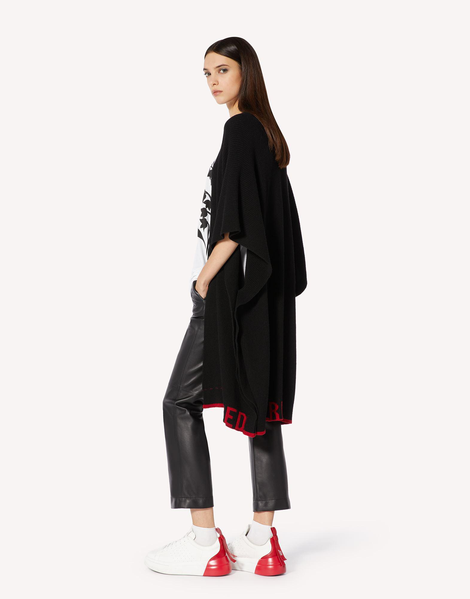 RED EMBROIDERED WOOL-BLEND KNIT CAPE 2