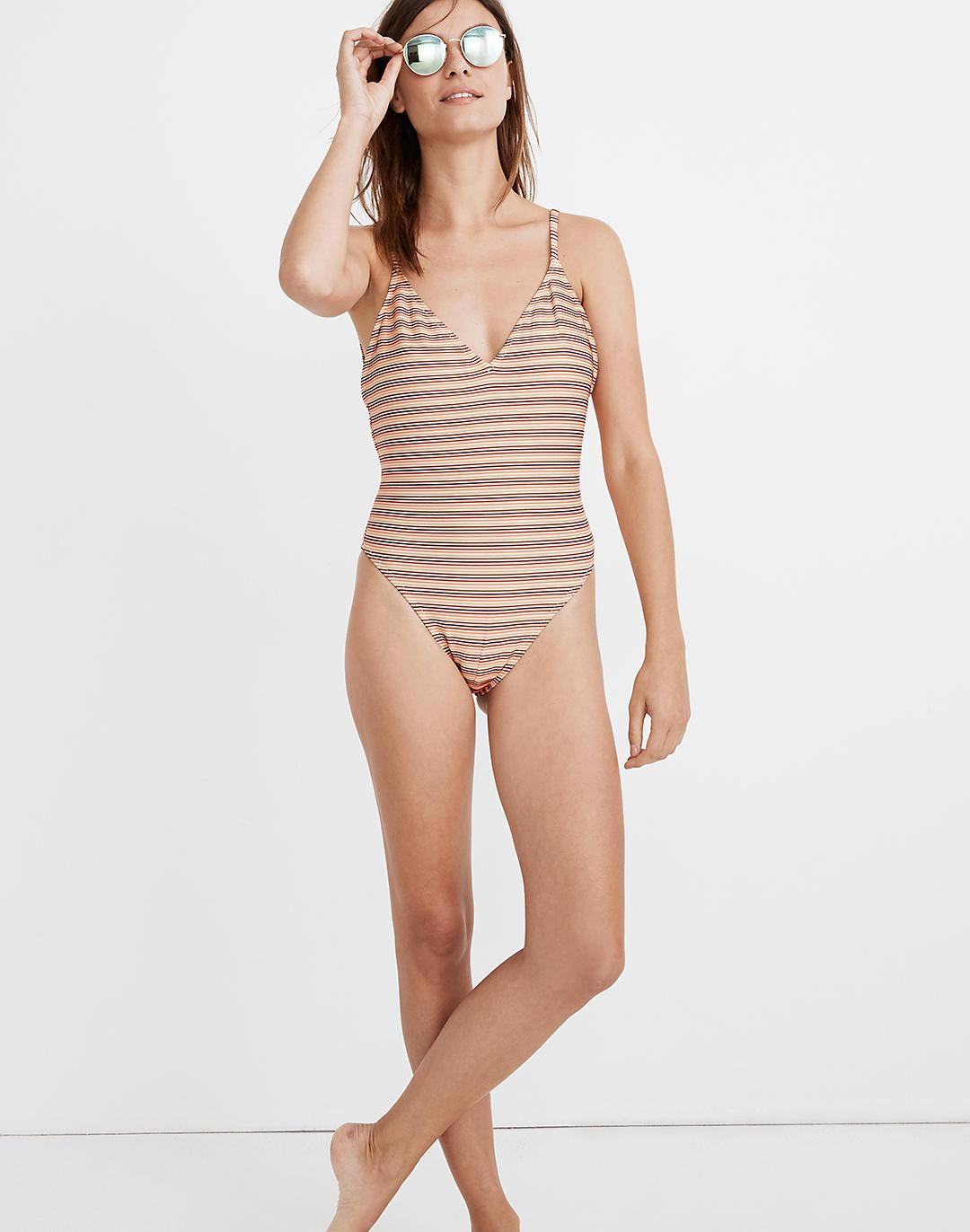 Madewell Ribbed Low-V One-Piece Swimsuit in Ombré Stripe