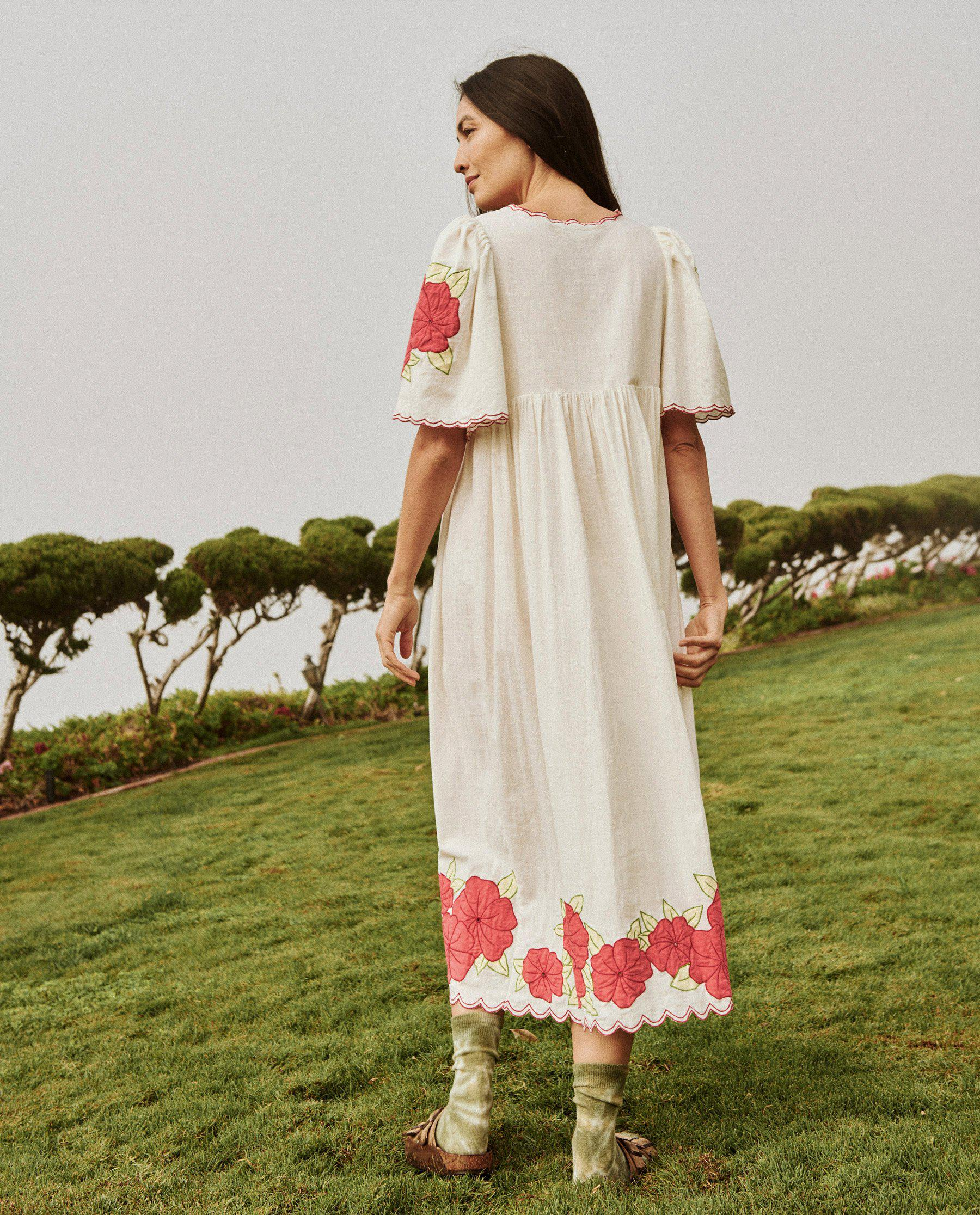 The Applique Floral Midi Dress. -- Cream with Red 4