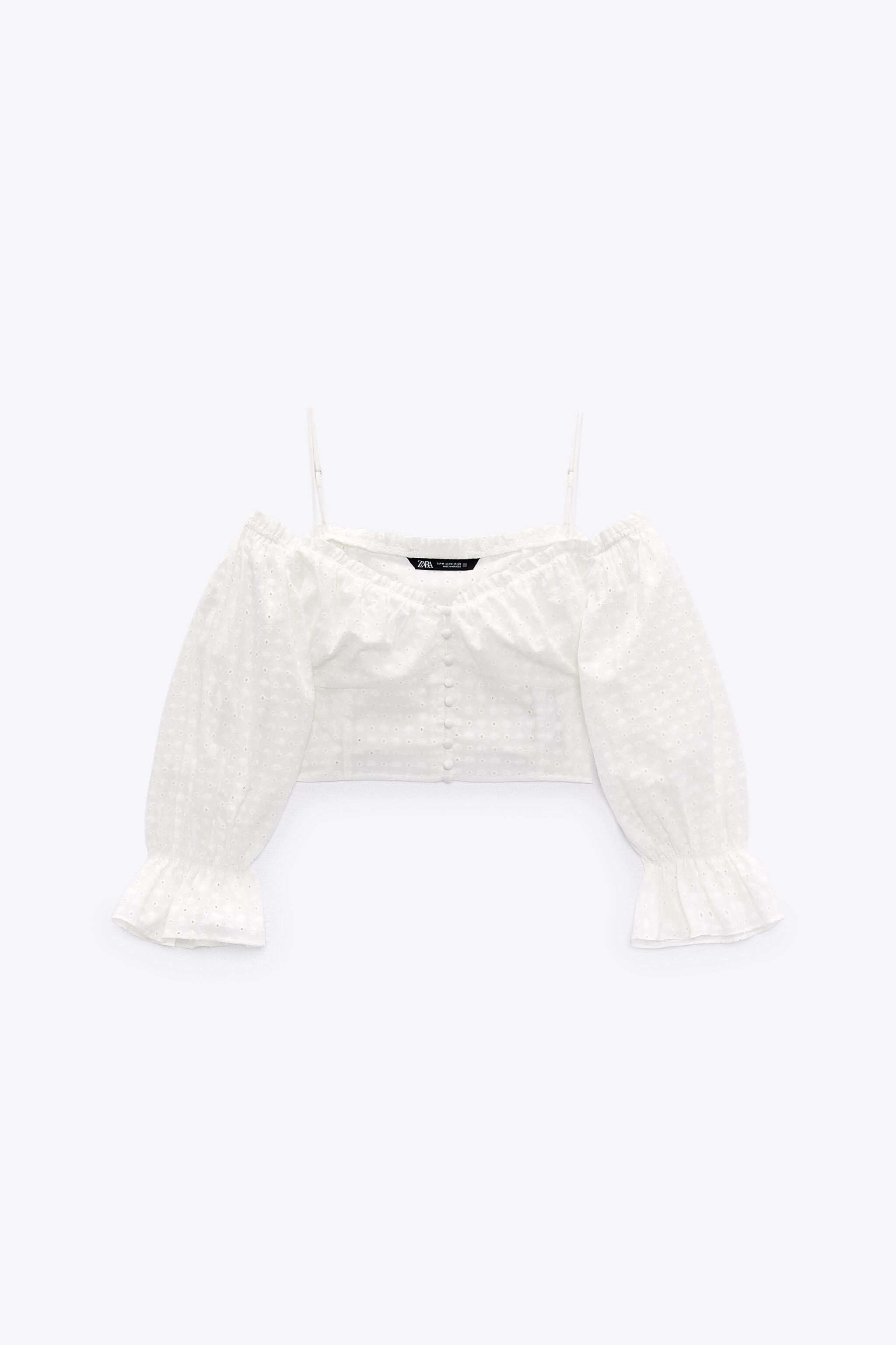 EMBROIDERED EYELET CROP TOP 7