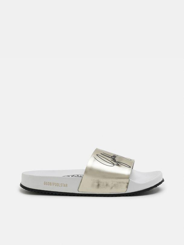 Women's white Poolstars with gold strap