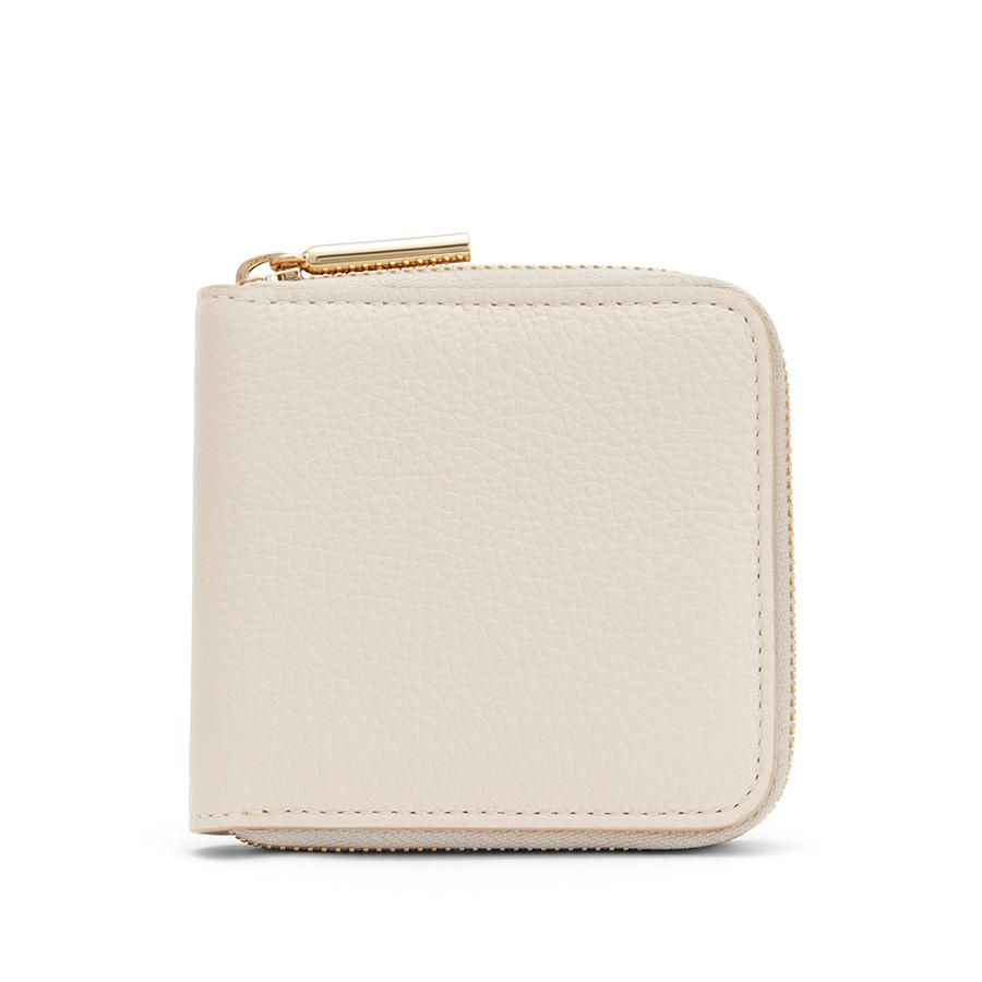 Women's Small Classic Zip Around Wallet in Ecru | Pebbled Leather by Cuyana