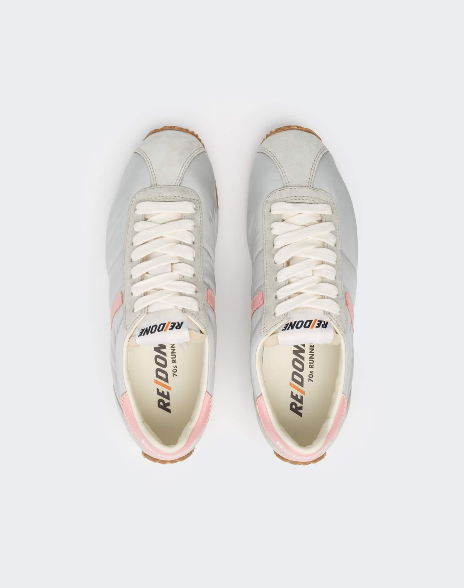 70s Runner Shoe - Light Grey and Pink 2