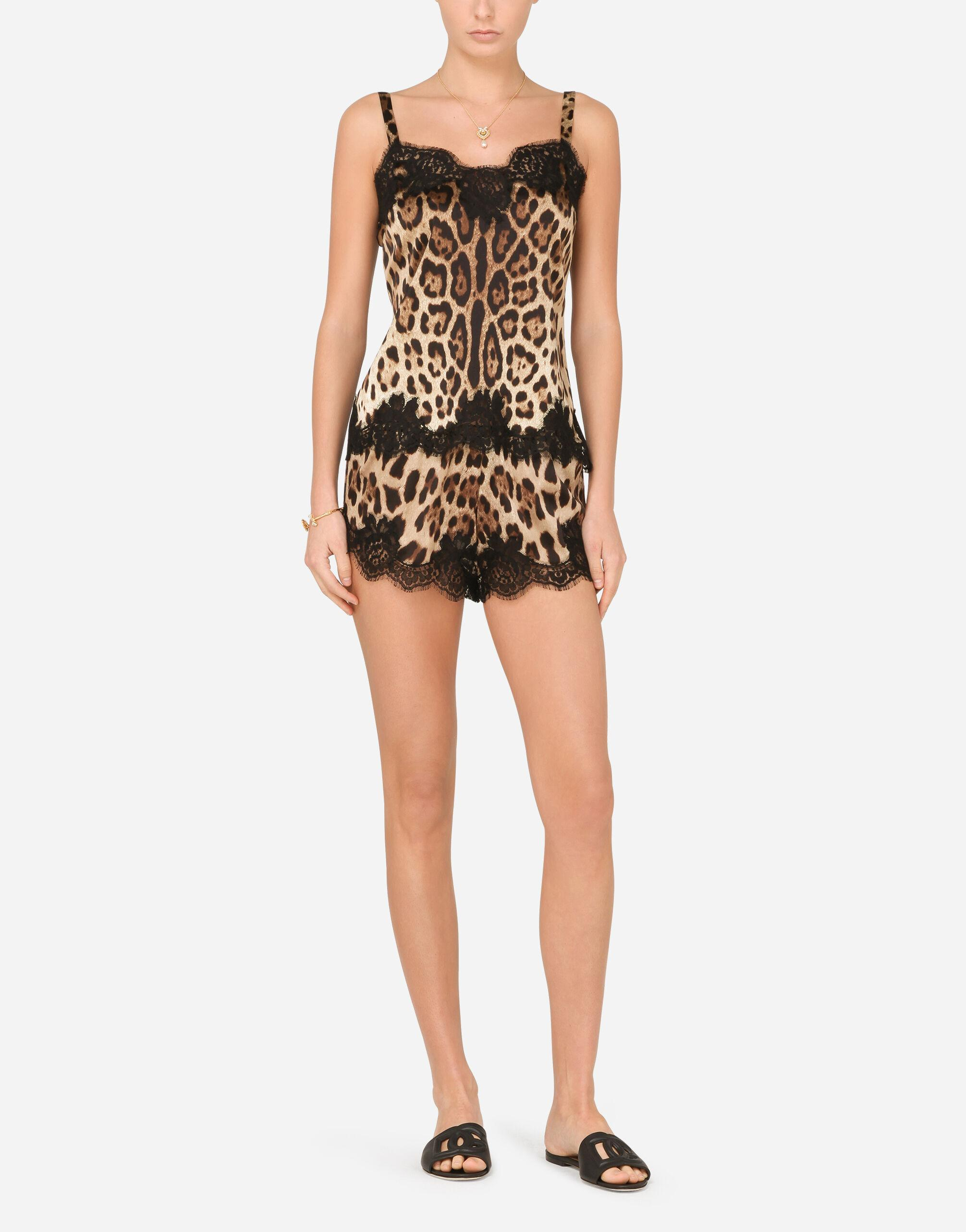 Leopard-print satin lingerie-style top with lace detailing
