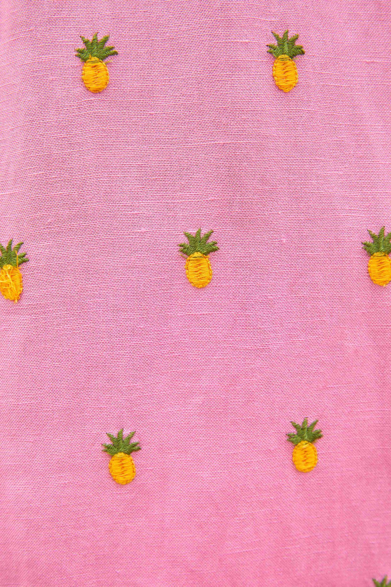 EMBROIDERED PINEAPPLES PINK MIDI DRESS 4