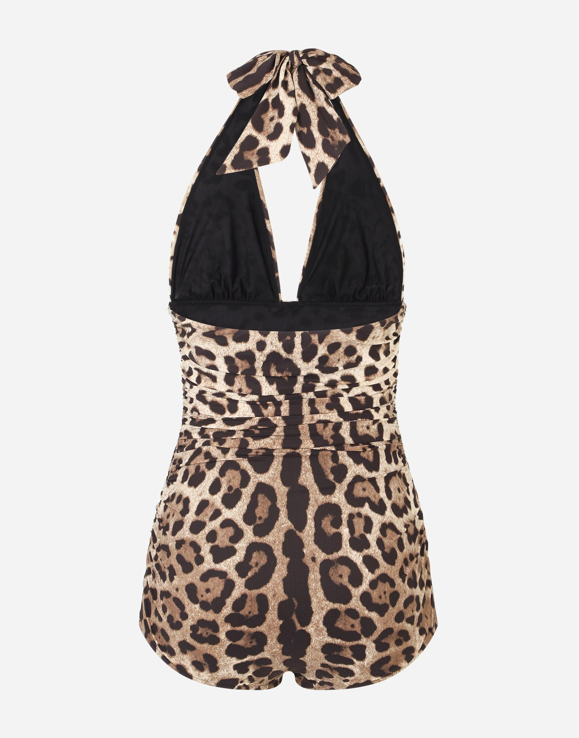 Leopard-print one-piece swimsuit with plunging neckline 3