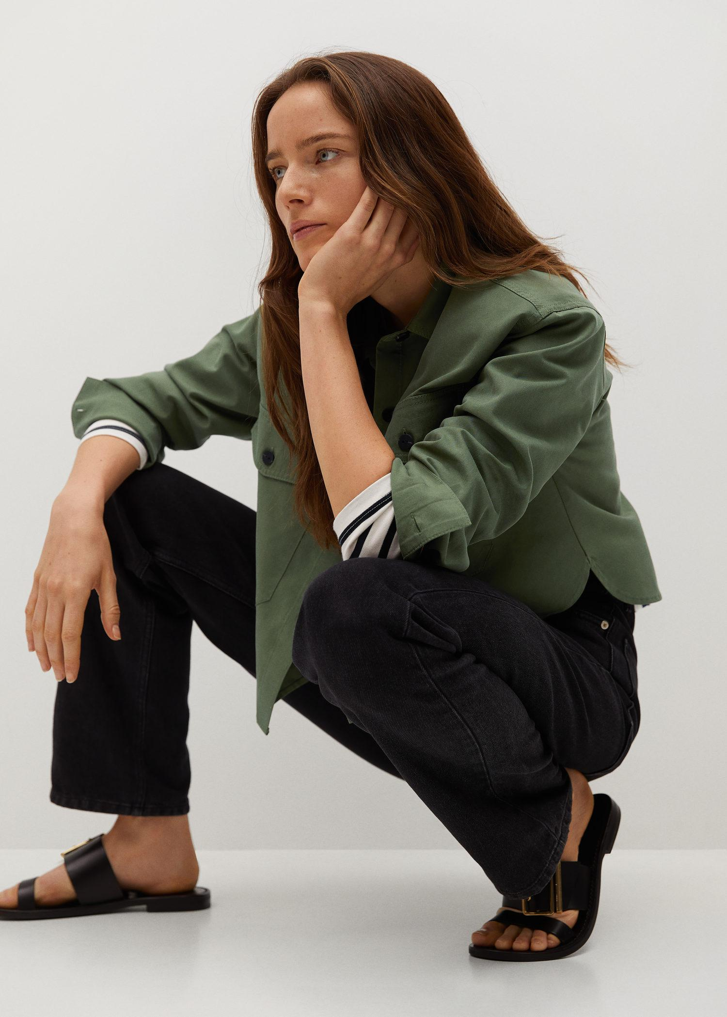 Cropped cotton overshirt 5