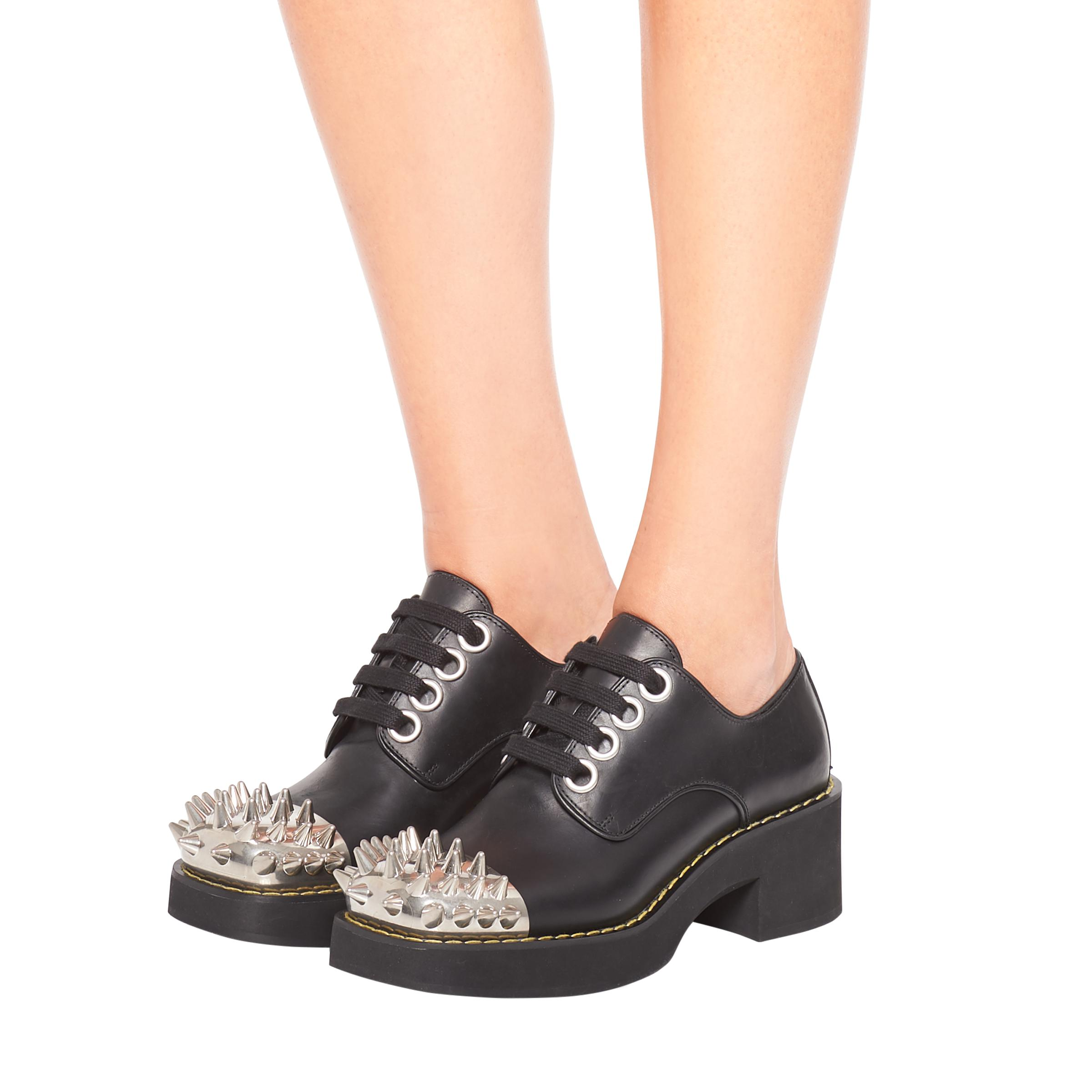 Studded Leather Laced Derby Shoes Women Black 4