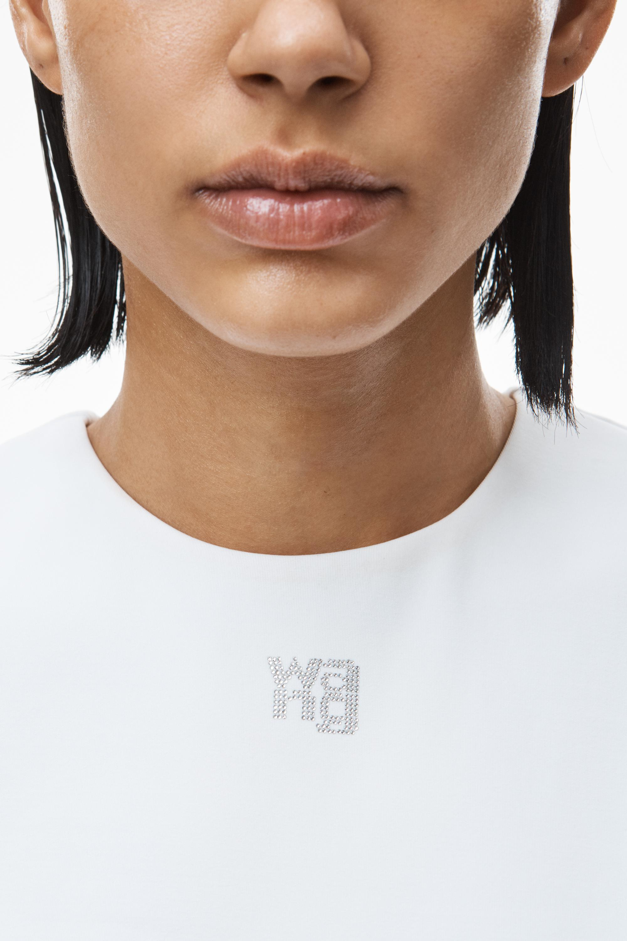 crystal logo baby tee in sculpted jersey 2
