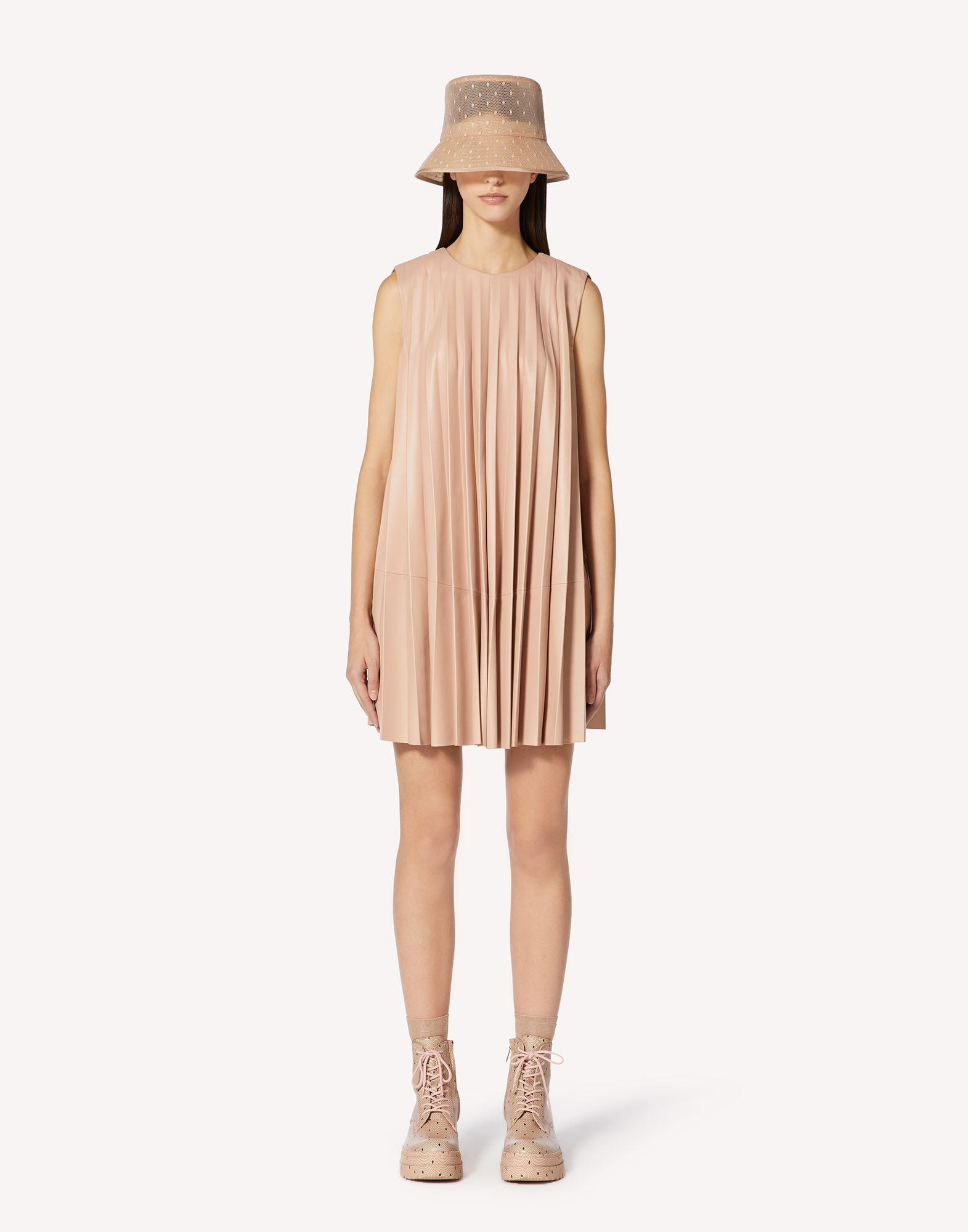 PLEATED LEATHER DRESS 0