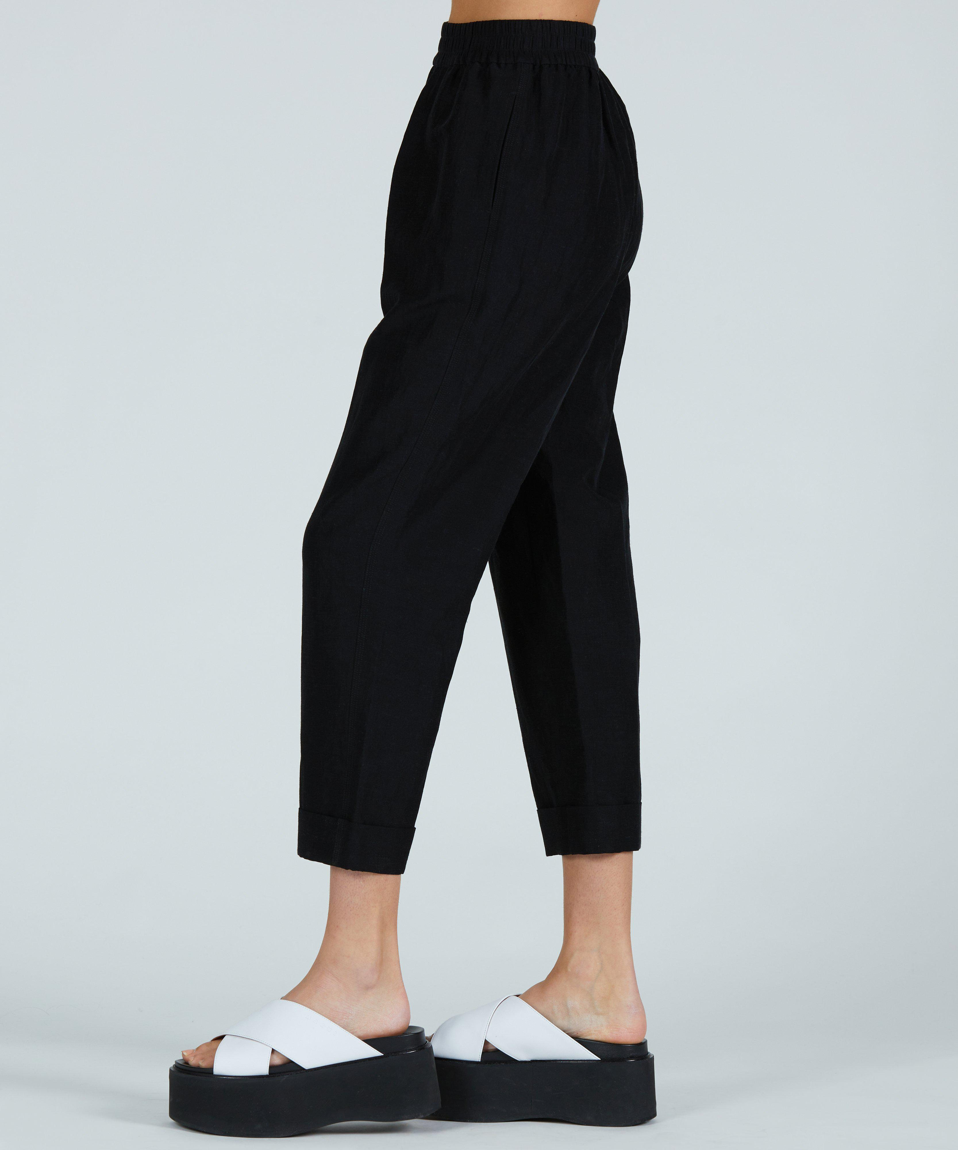 Linen Rayon Pull-On Cuff Pant - Black 1