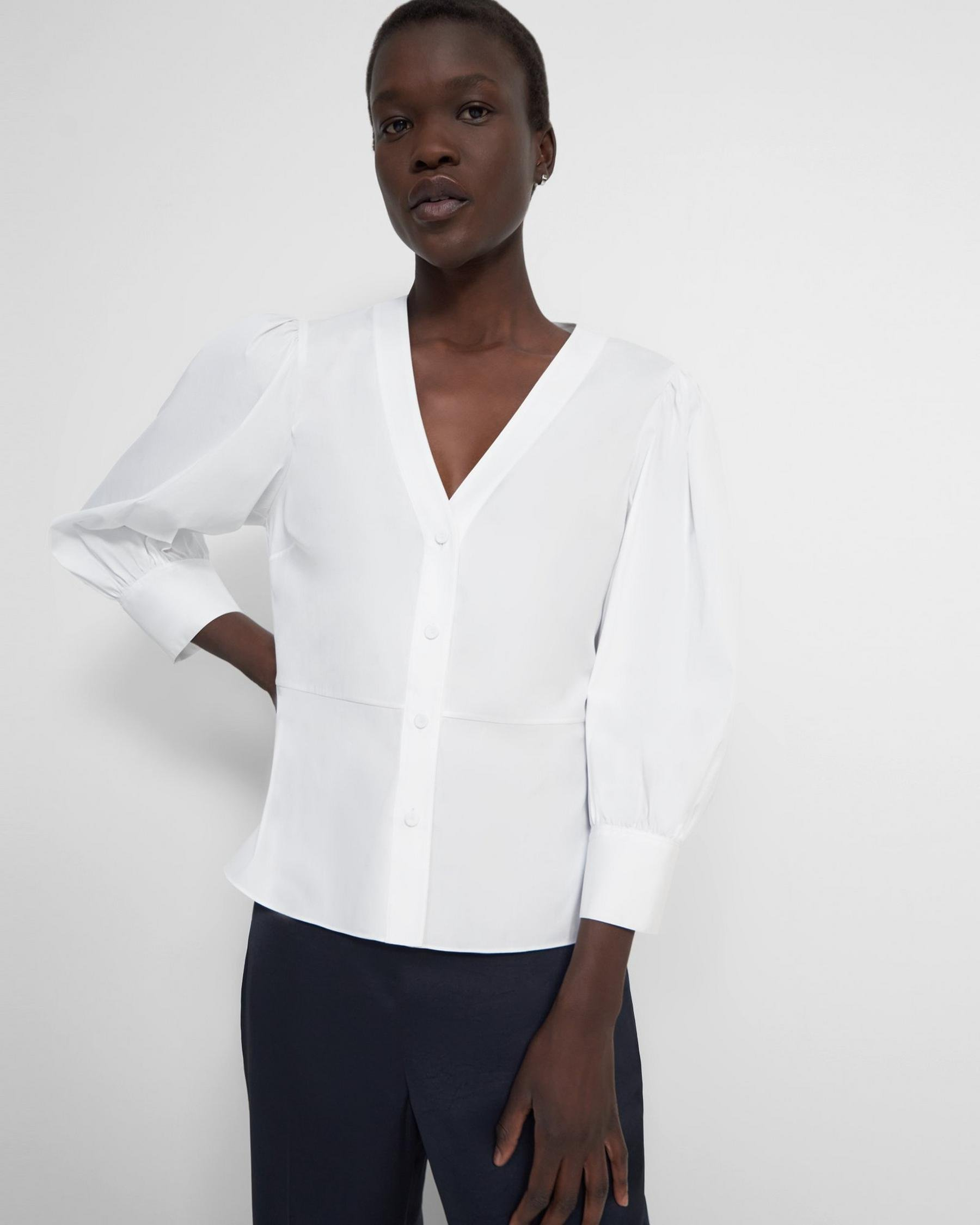 Gathered-Sleeve Top in Good Cotton